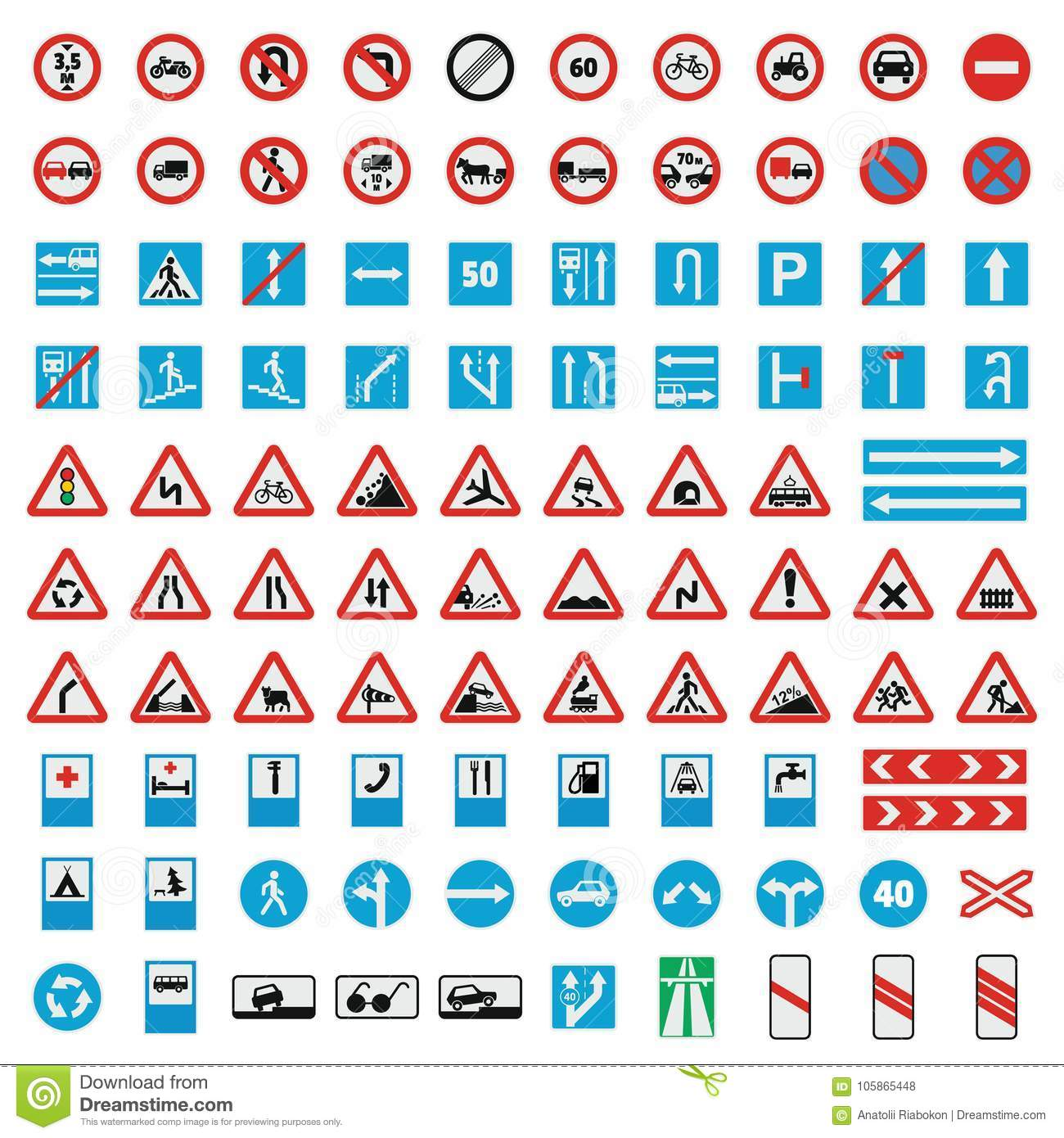 Traffic road sign collection icons set, flat style