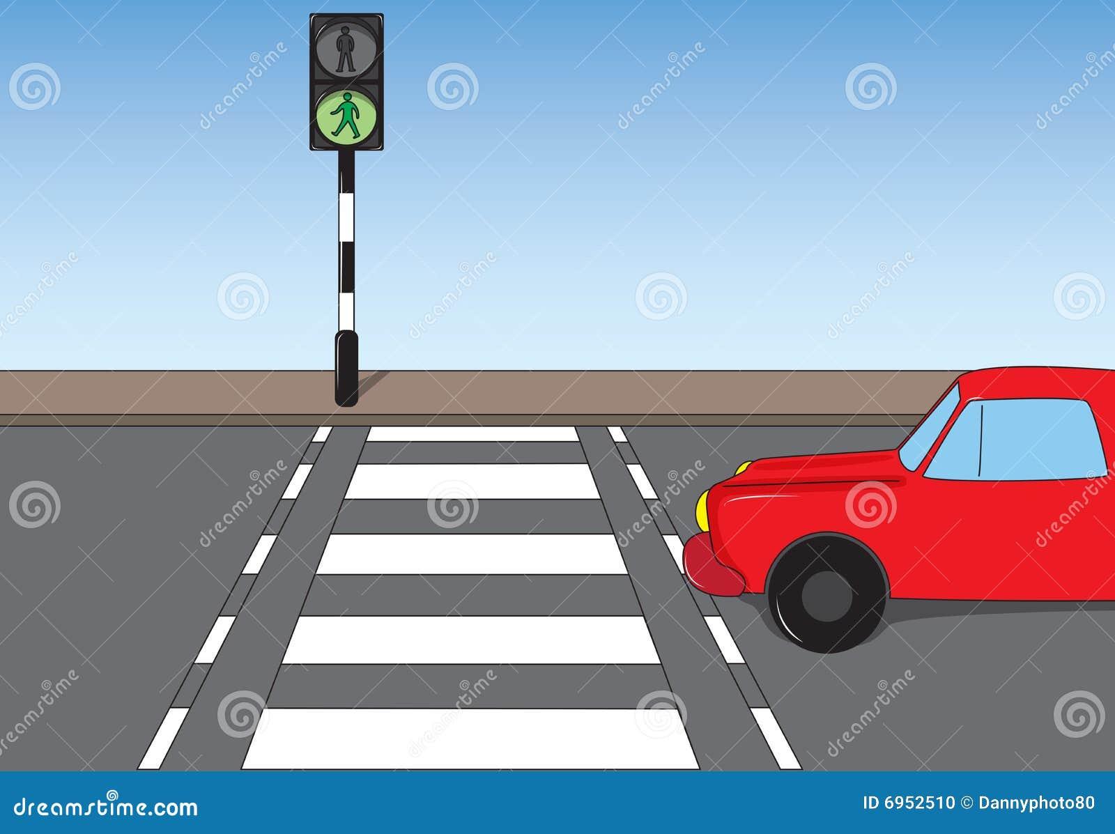 Line Drawing Of Zebra Crossing : Traffic scene stock illustration of light