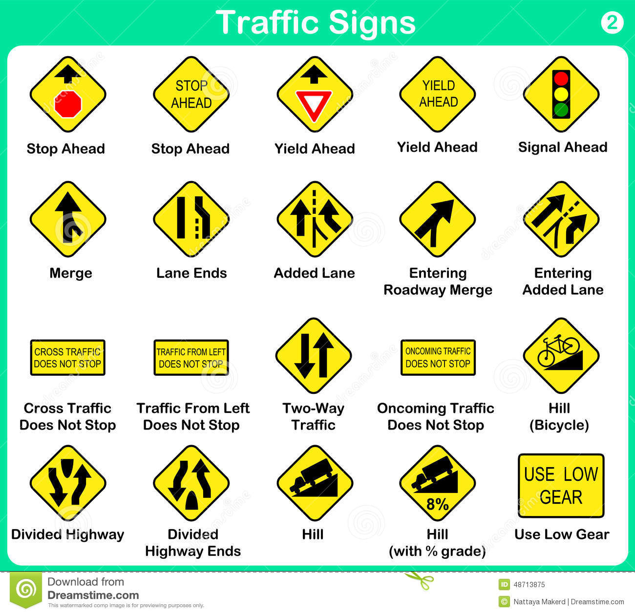 Traffic Sign Collection Warning Road Signs Stock Vector