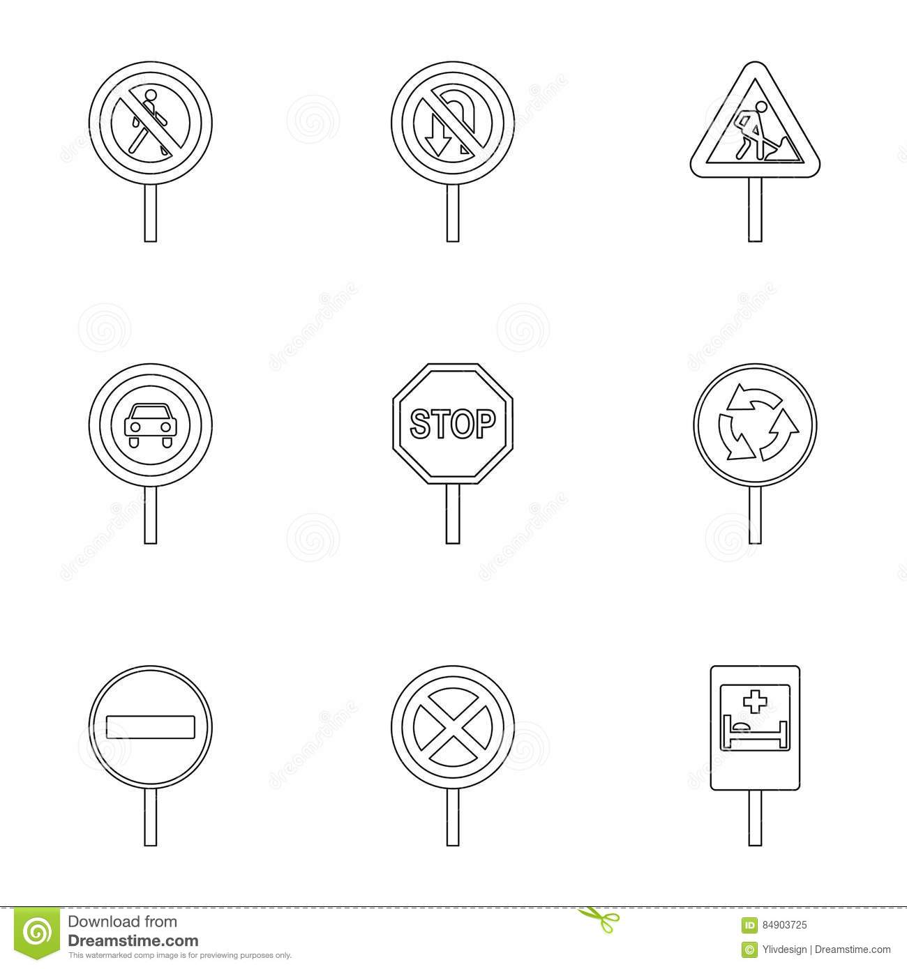 Pedestrian traffic sign icon outline style vector for Decor outline
