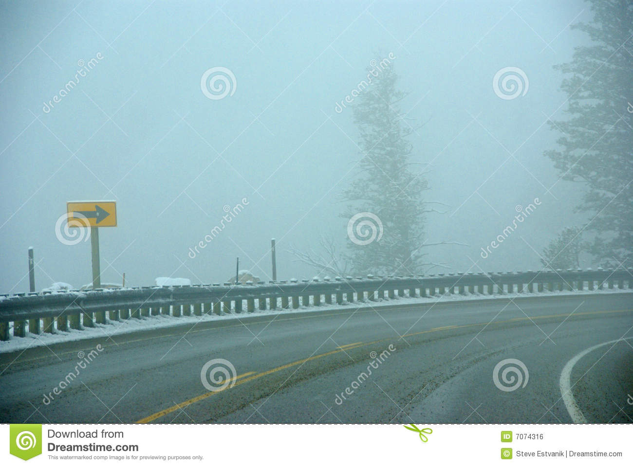 Download Traffic Signs On Icy Mountain Road Stock Photo - Image of curve, slush: 7074316