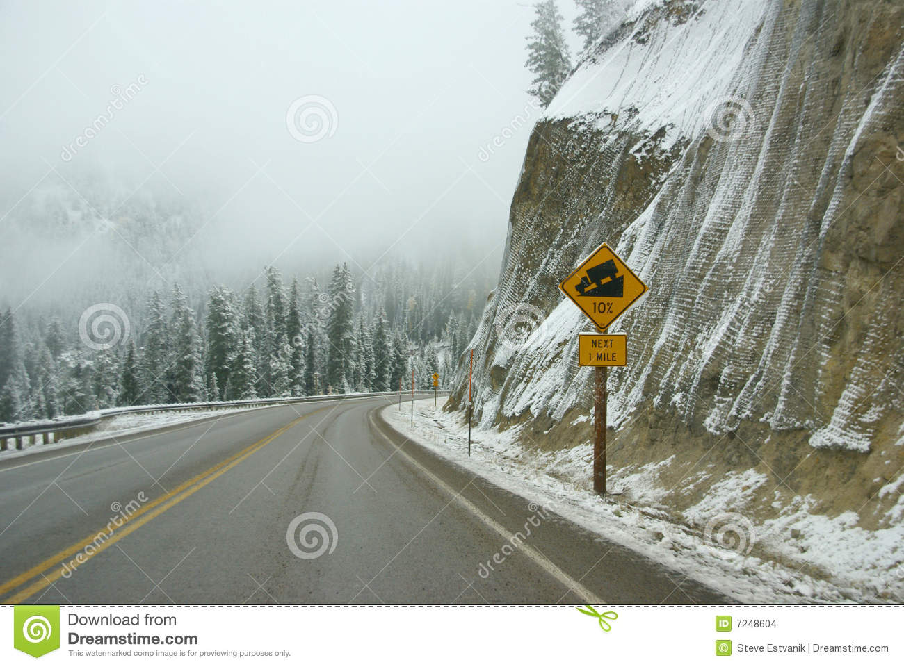 Traffic signs on icy mountain road