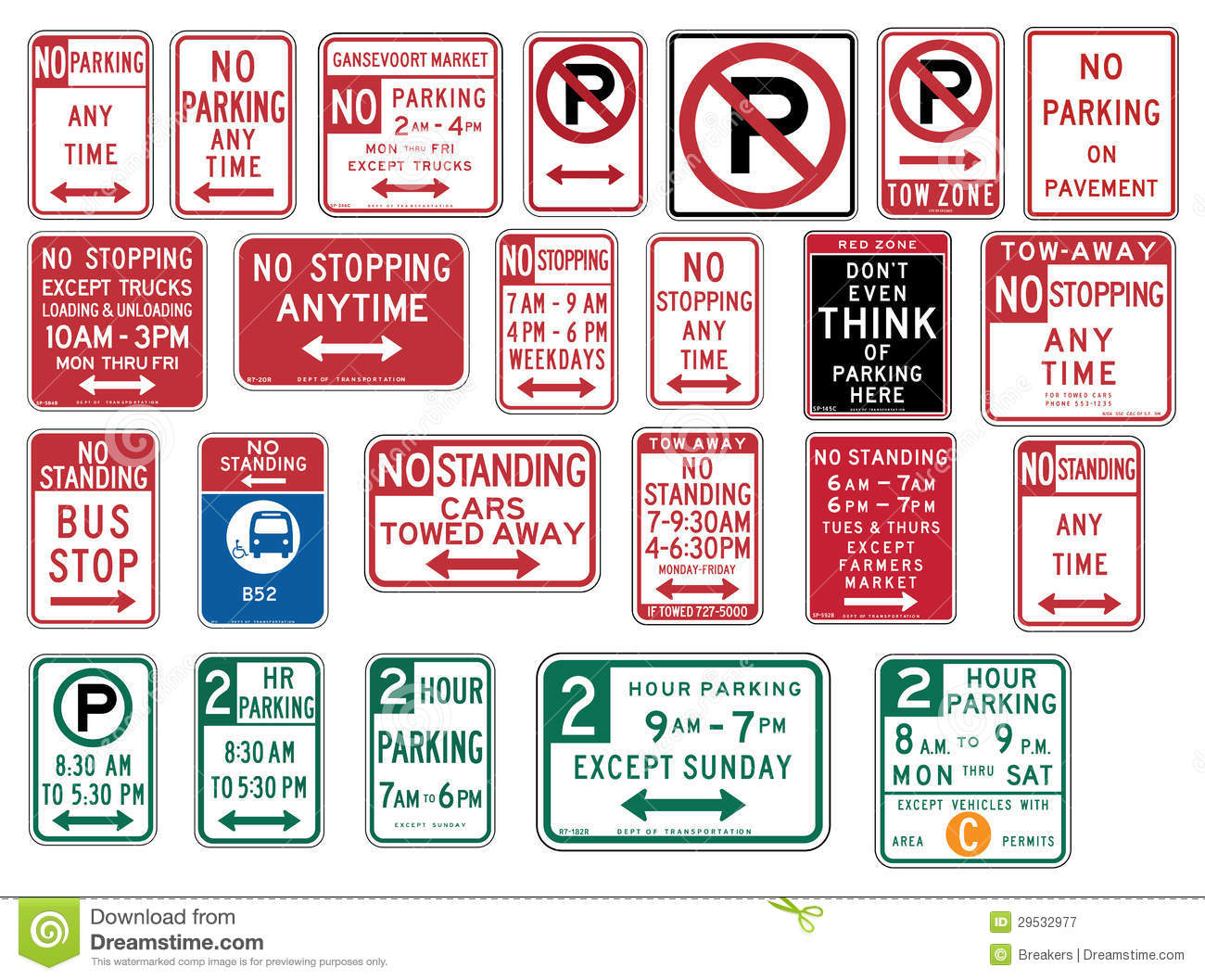 Traffic Signs In The United States No Parking Stock