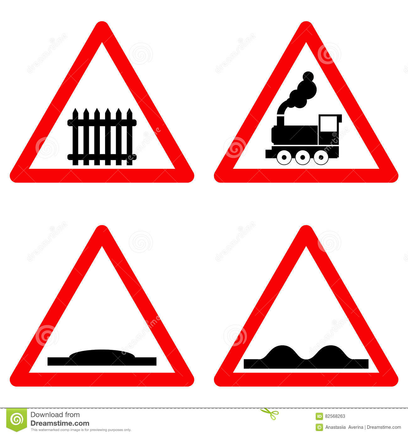 Triangle Road Signs >> Traffic Signs Vector Set On White Background Railway Level Crossing