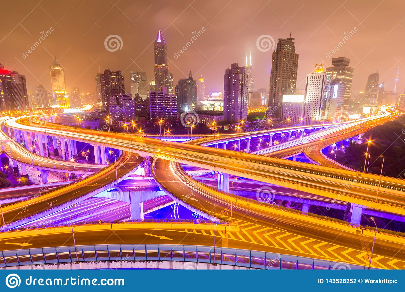 Traffic tracks in the downtown area of Shanghai at night