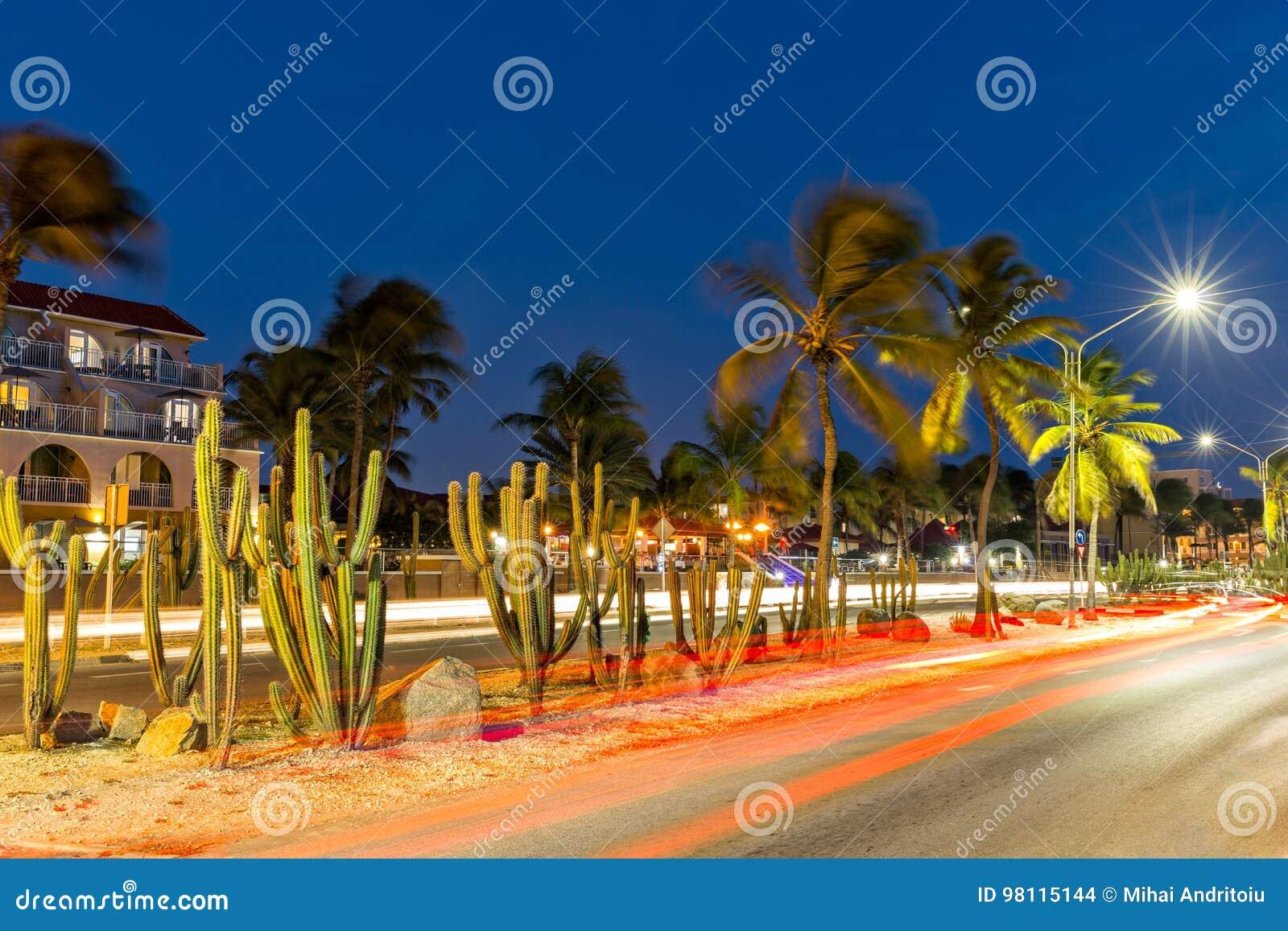 Traffic trails on JE Irausquin boulevard in Aruba