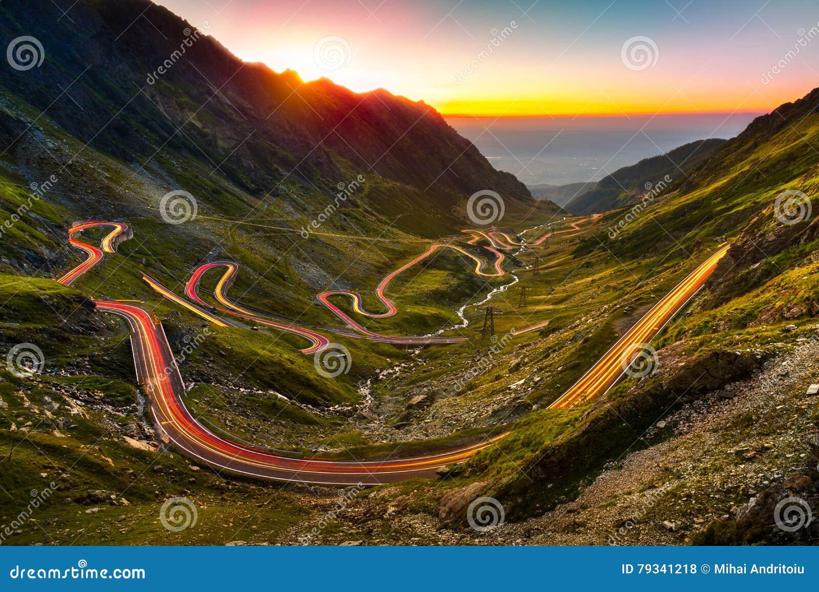 Traffic trails on Transfagarasan pass