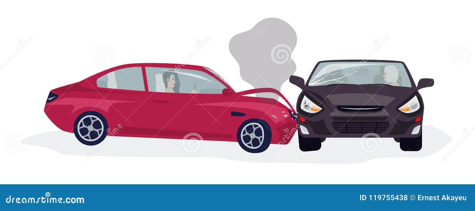 Trafik eller motorfordonolycks- eller bilkrasch som isoleras på vit bakgrund Sidosammanstötning med två drivande bilar