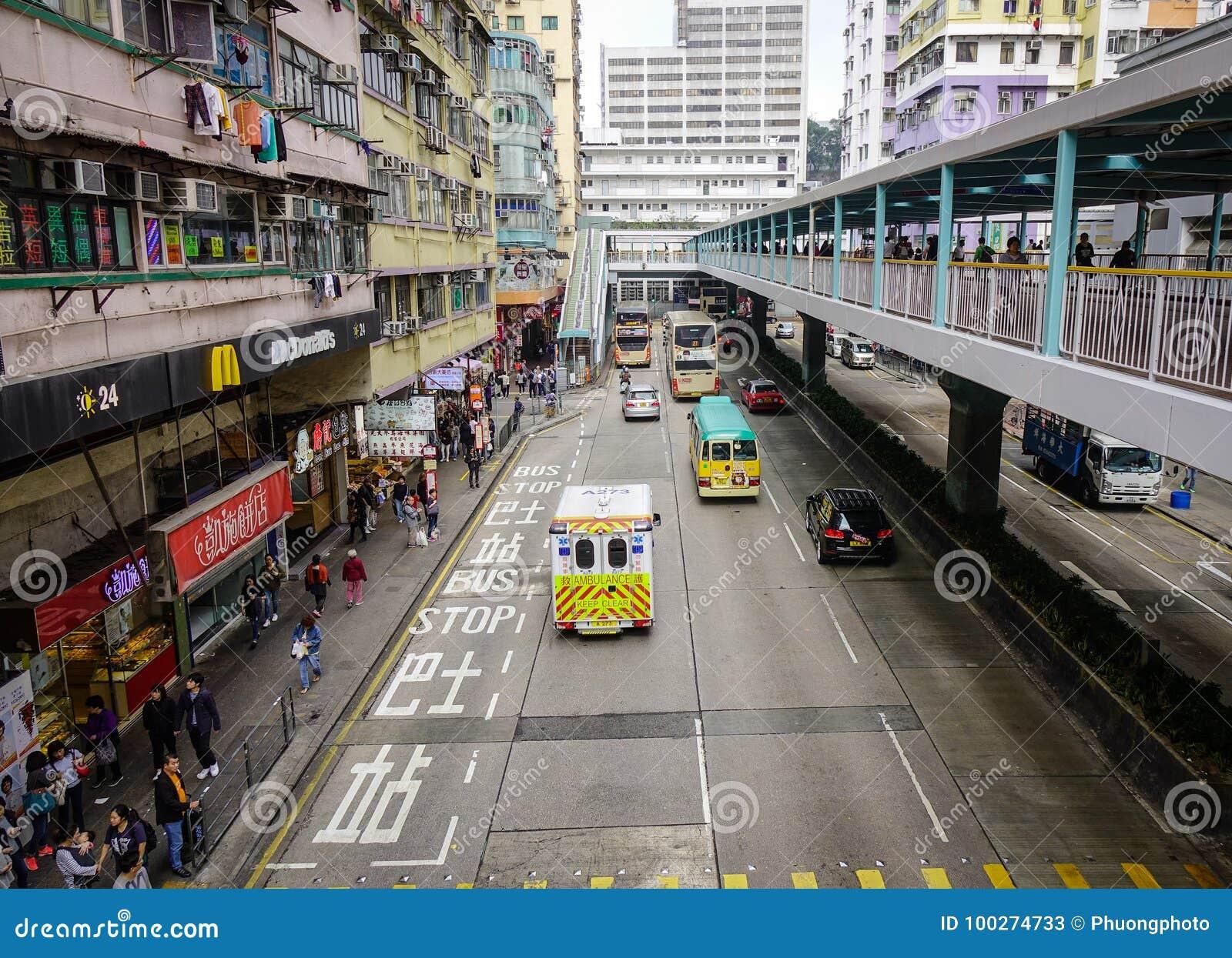 Trafik på centret i Hong Kong