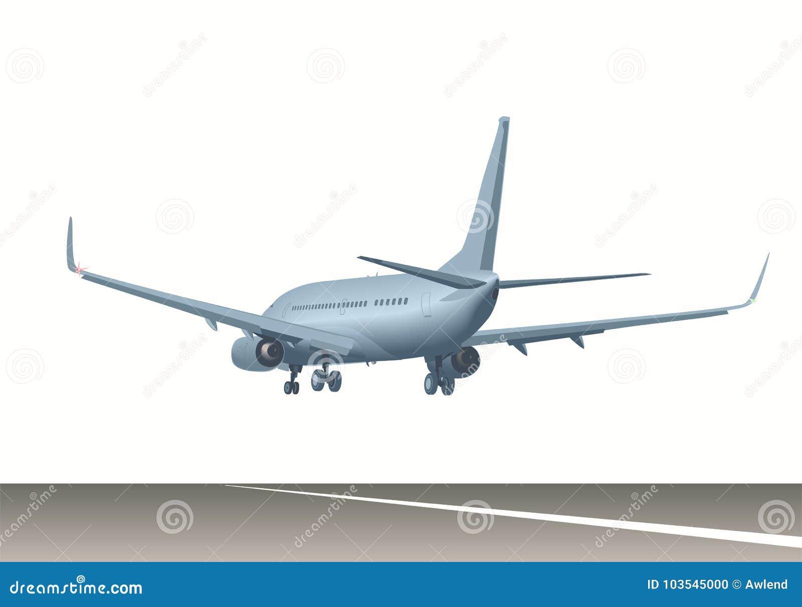 Trafikflygplan över landningsbana