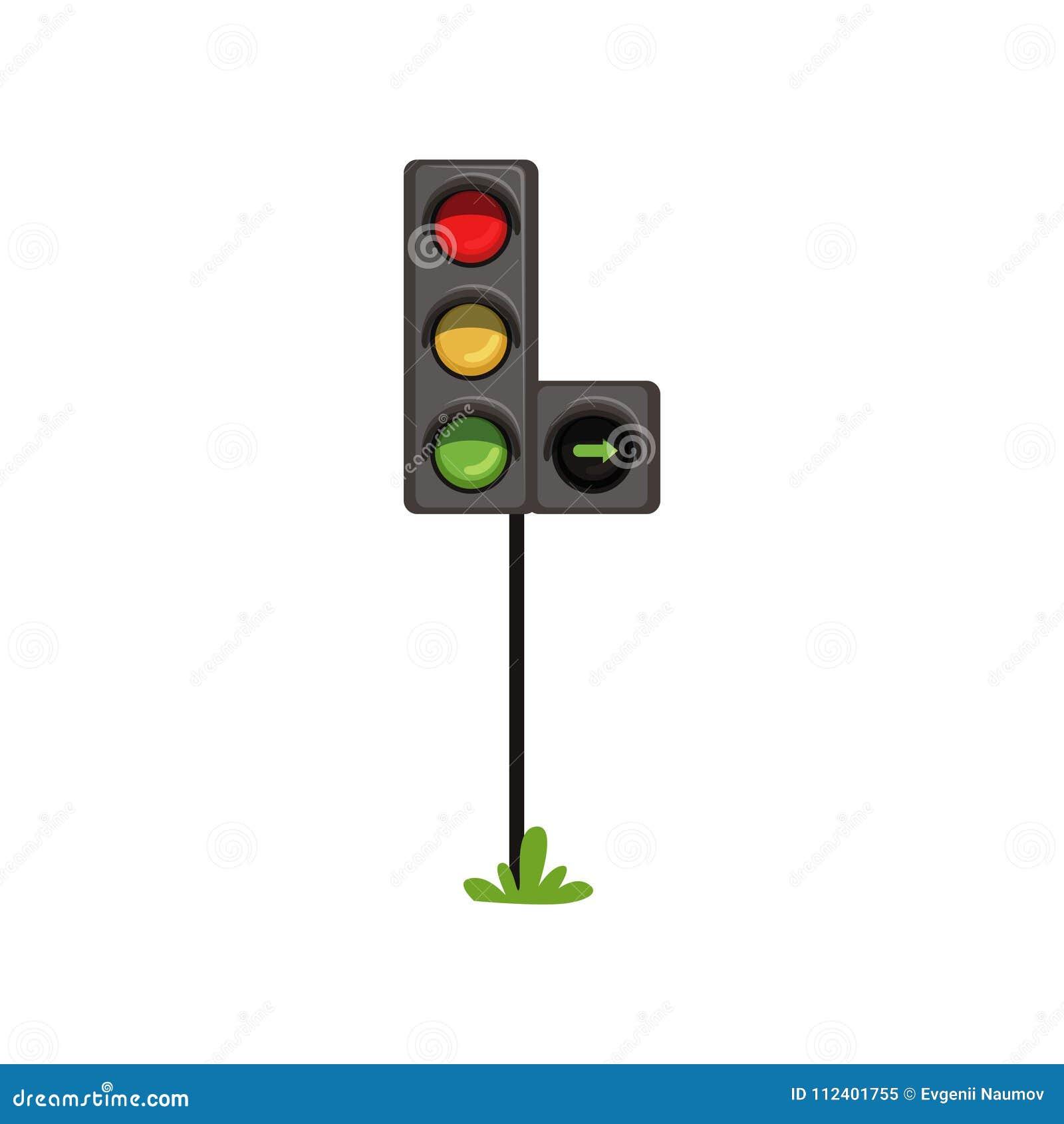 Trafikljus med höger vänd för extra avsnitt Vägsemafor med färgrika lampor som är röda som är gula och som är gröna plant