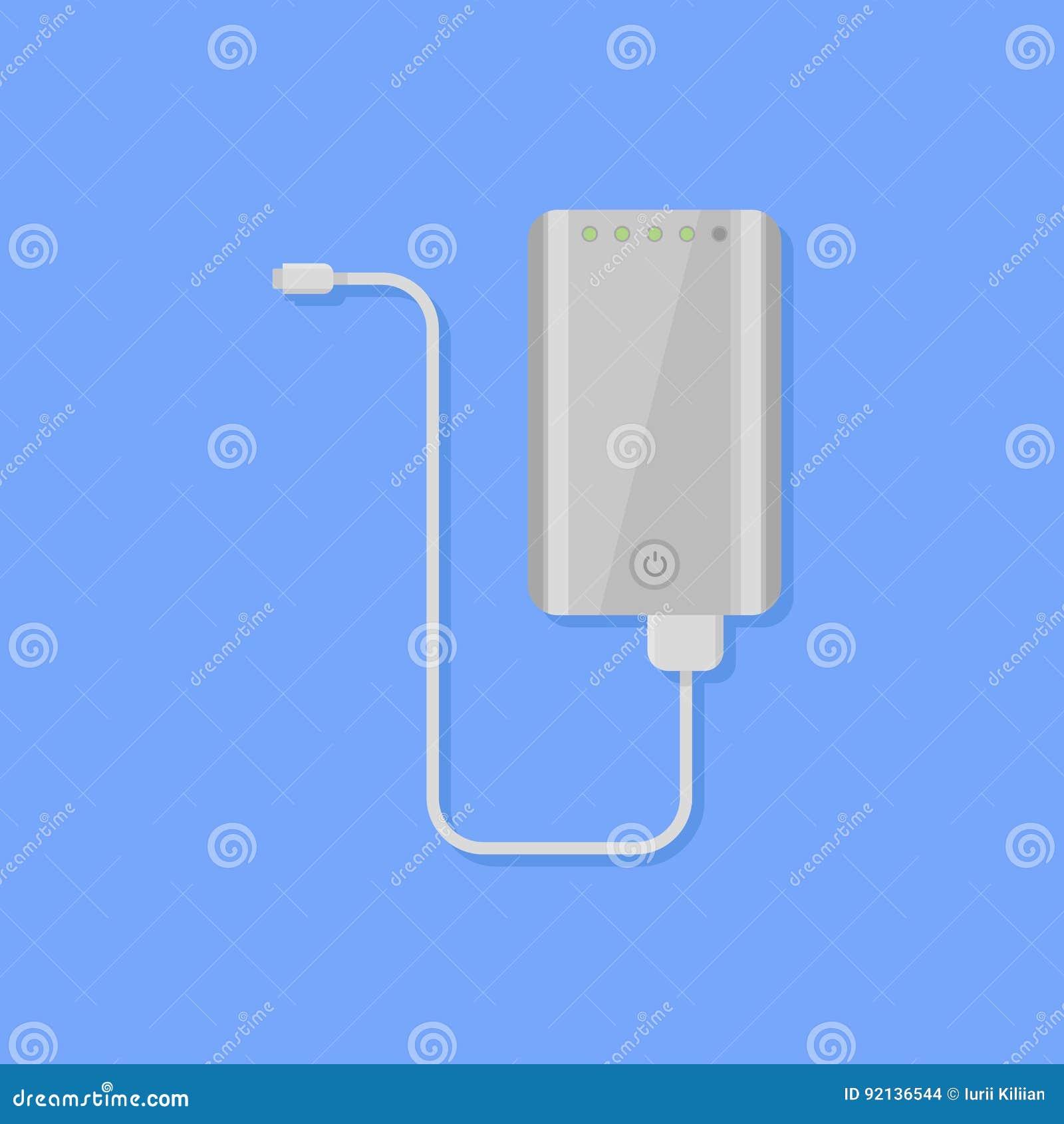 Tragbare Energiebank mit flacher Artikone des Kabels Auch im corel abgehobenen Betrag