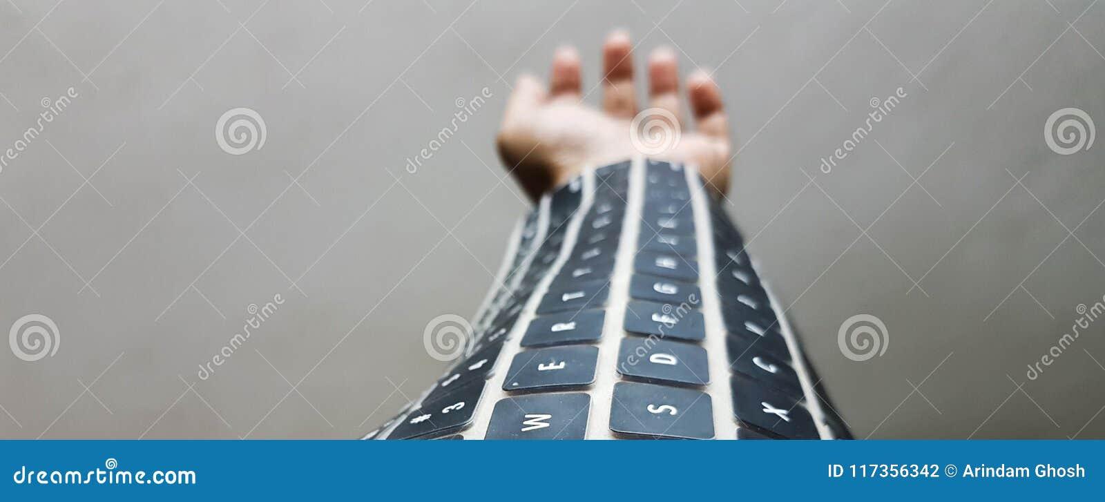 Tragbare Tastatur auf Arm zukünftige drahtlose Technologie