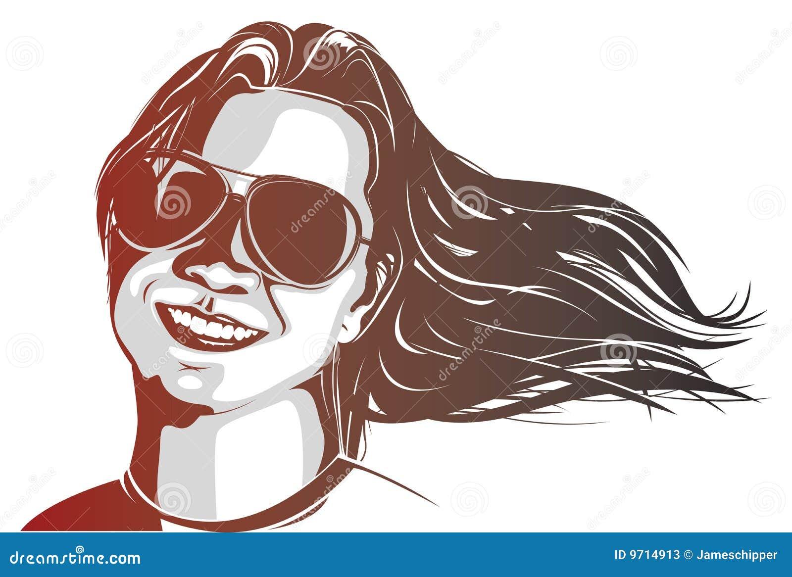 Tragende Sonnenbrillen der Frau