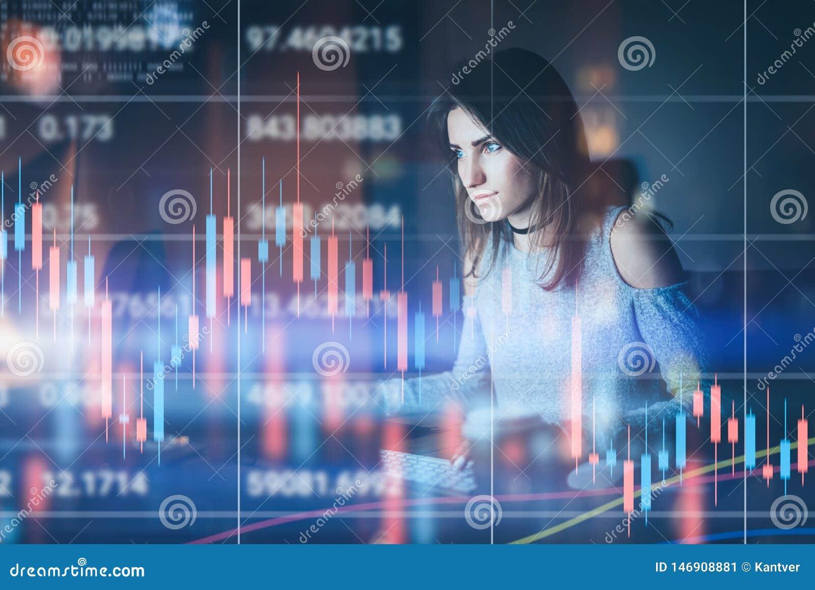 Traider de la mujer joven que trabaja en la oficina moderna de la noche Gráfico técnico del precio y carta del indicador, roja y