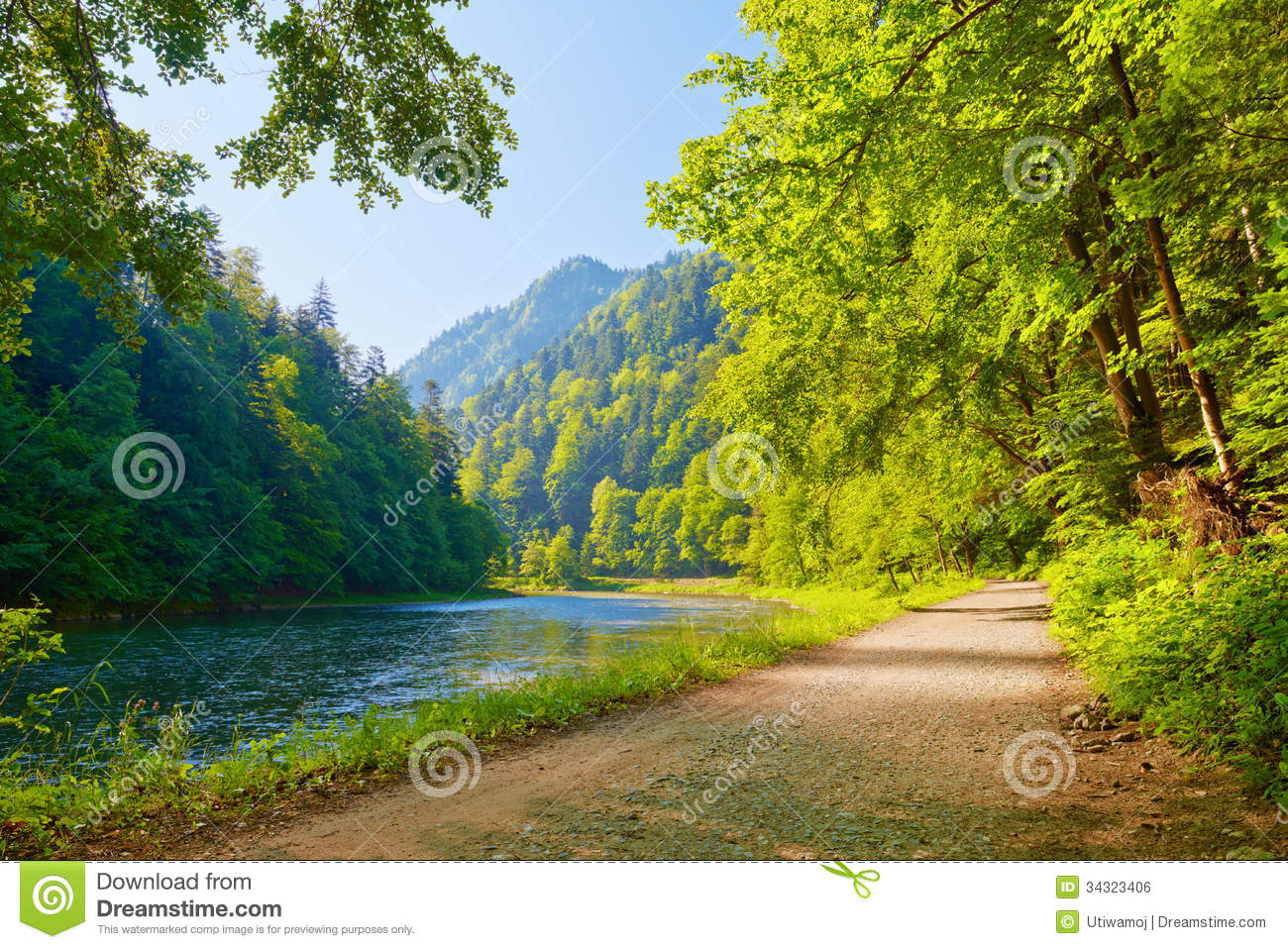 Trail in the Dunajec River Gorge. View from Slovak