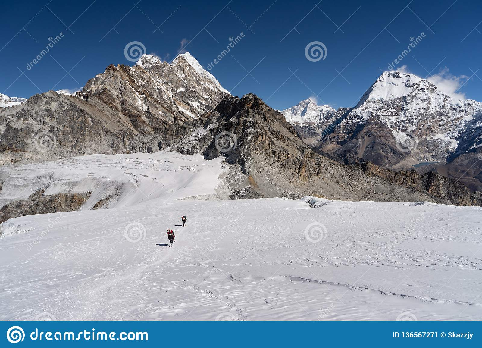 Trail from Mera peak base camp to Mera peak high camp walk on glacier, Khumbu region Himalayas mountain, Nepal