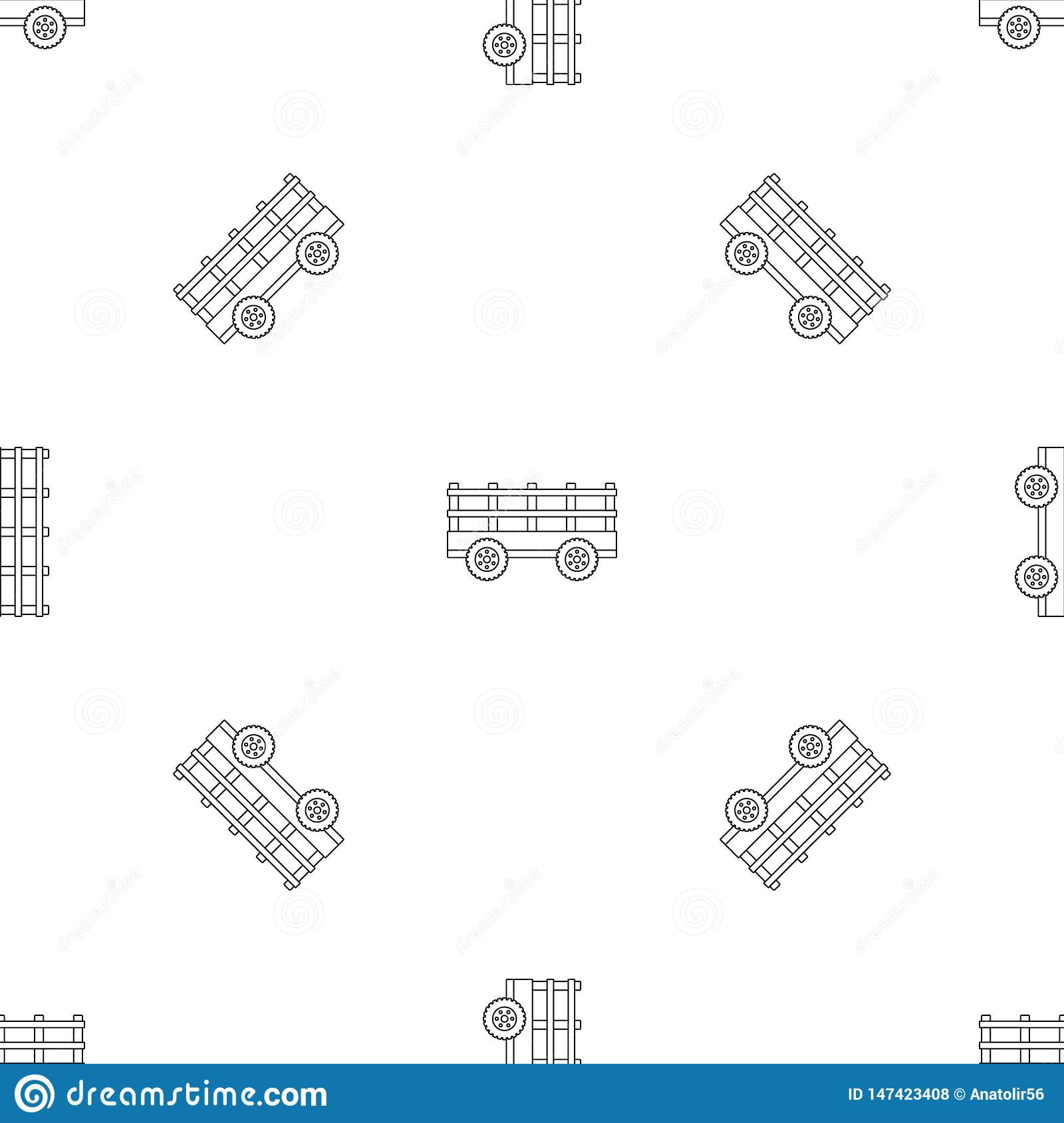 Trail tractor pattern seamless vector