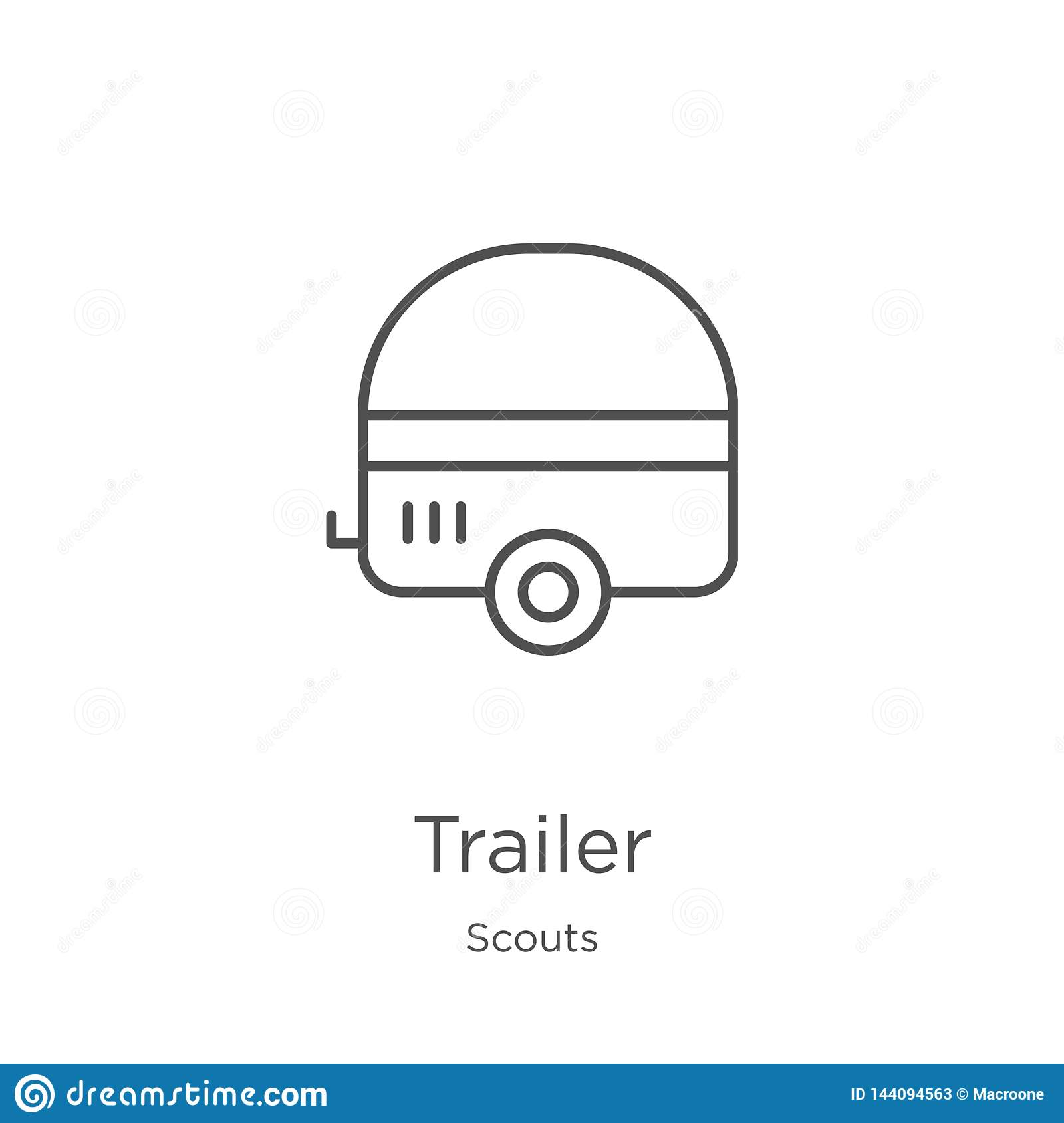 trailer icon vector from scouts collection. Thin line trailer outline icon vector illustration. Outline, thin line trailer icon