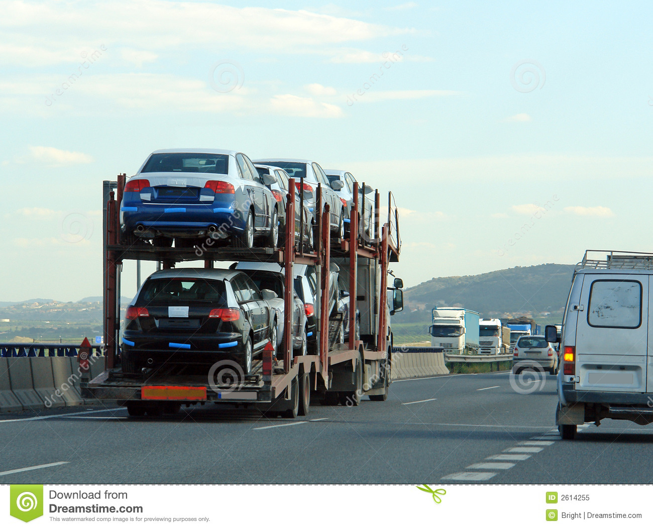 Trailer with new cars stock image. Image of brand, trailer - 2614255
