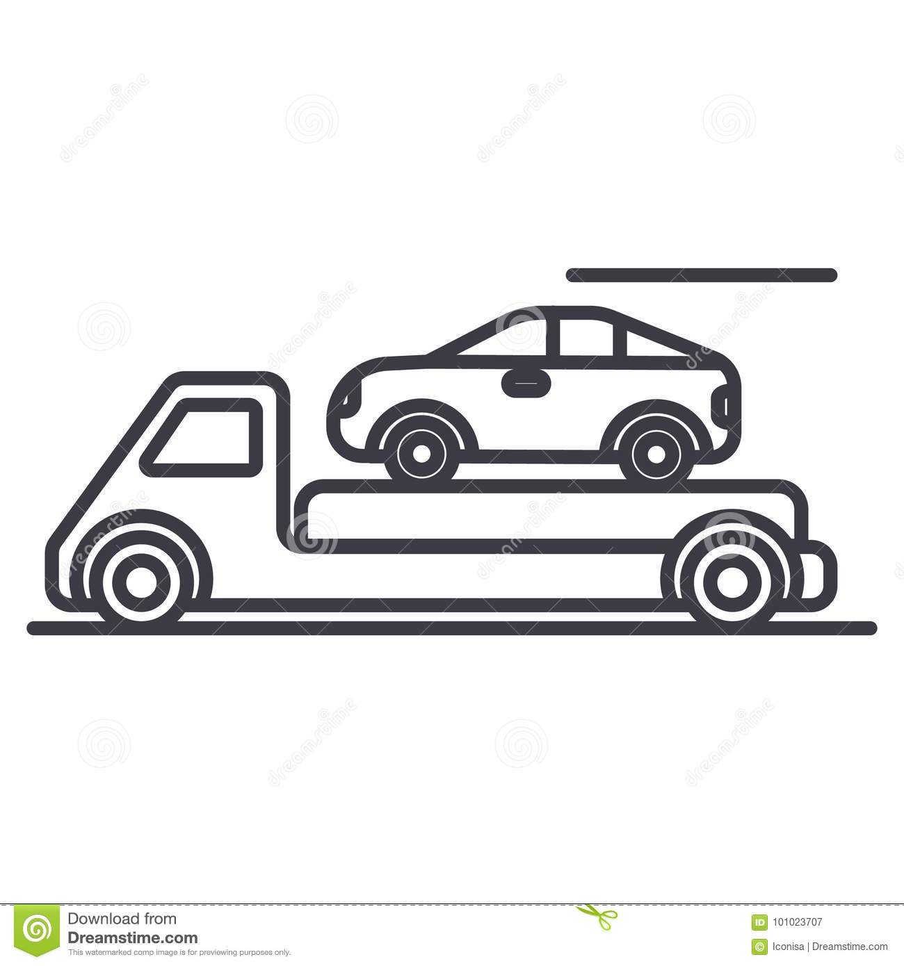 Trailer,transportation,car service,delivery vector line icon, sign, illustration on background, editable strokes
