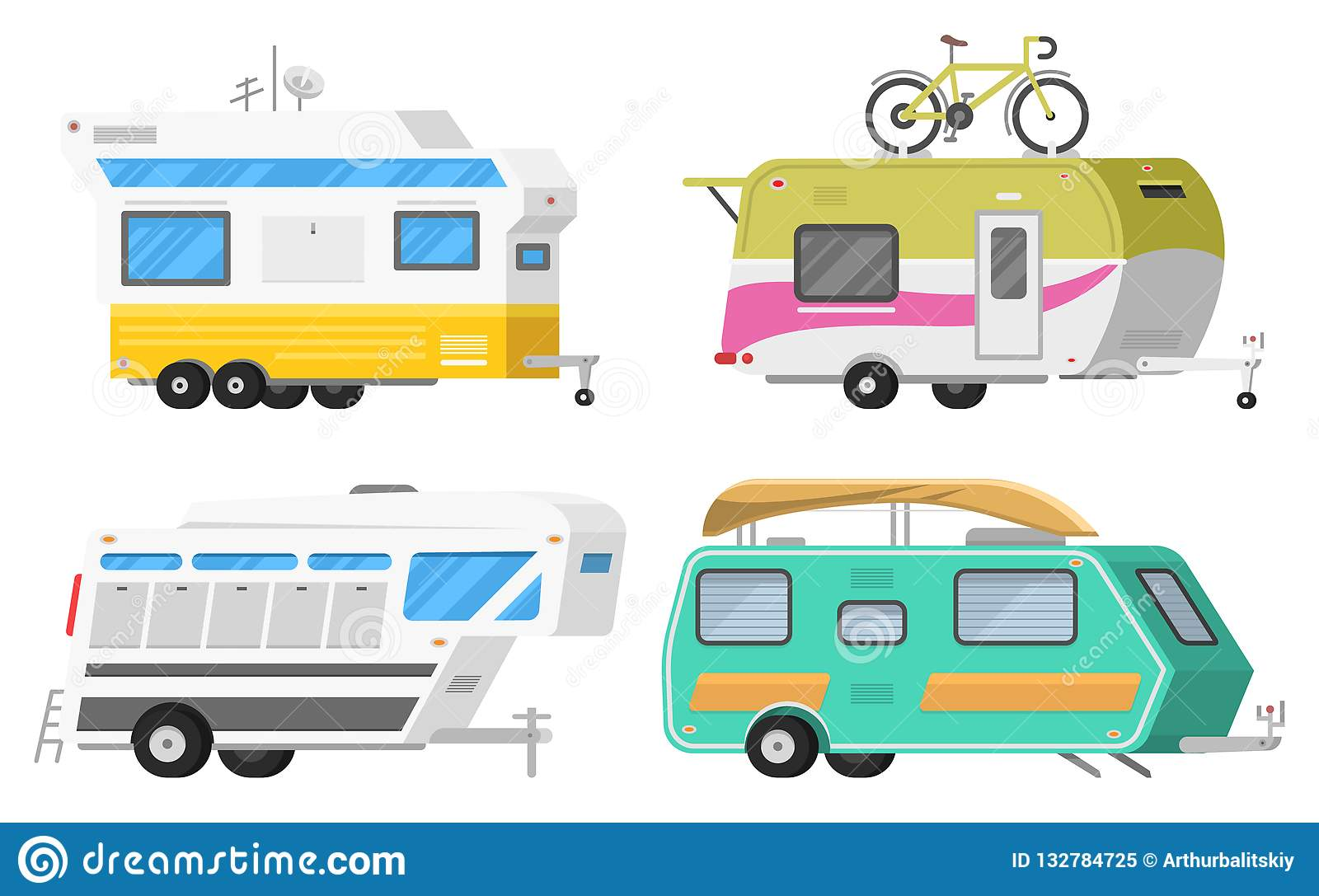 Trailers Or Family RV Camping Caravan  Tourist Bus And Tent