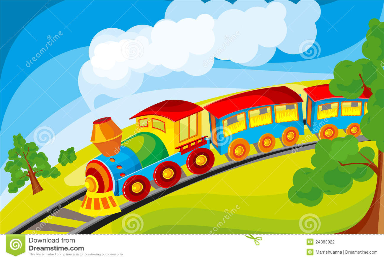 Train Stock Vector Illustration Of Railroad Landscape 24383922