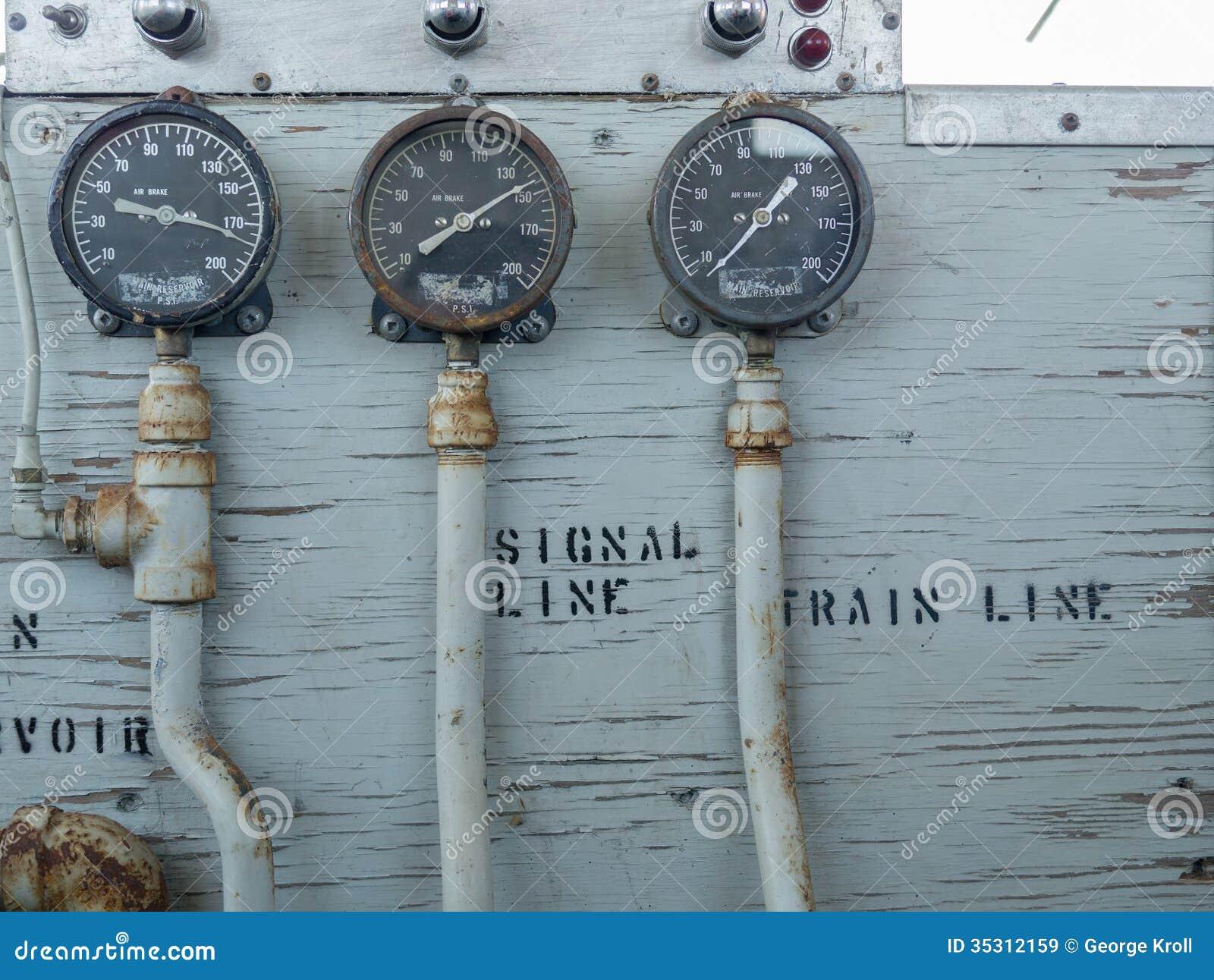 Train air brake guages stock image of