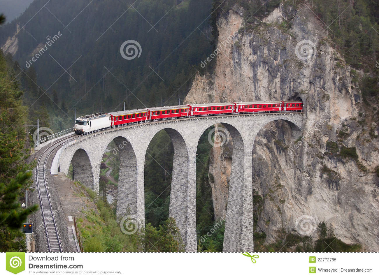 Train on a bridge