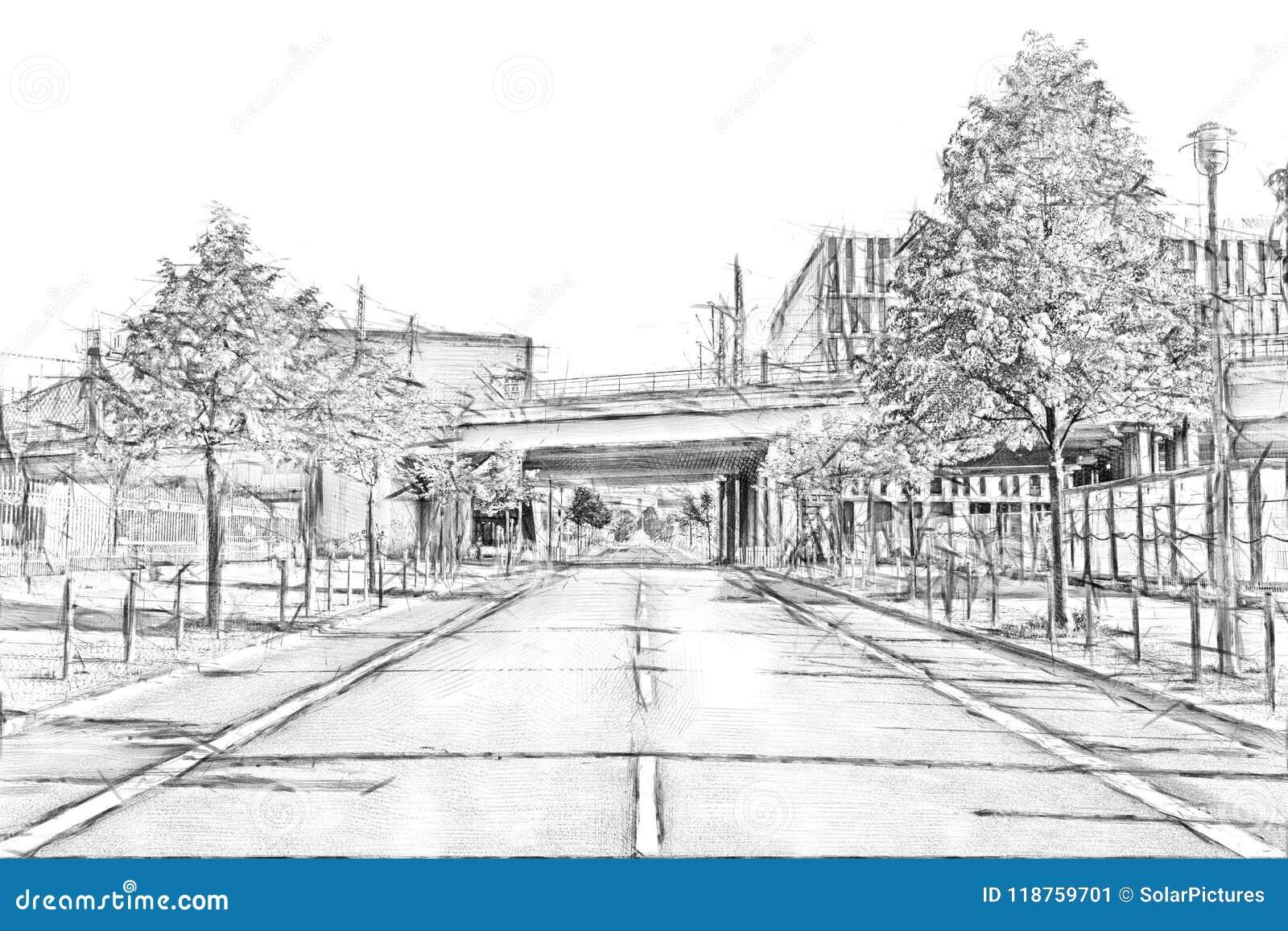 A pencil sketch drawing of a train bridge across an empty street in downtown berlin