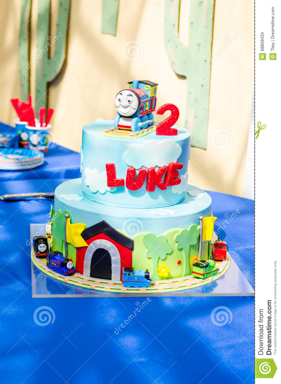 Train Cake For 2nd Birthday Stock Photo Image Of Colorful Jars
