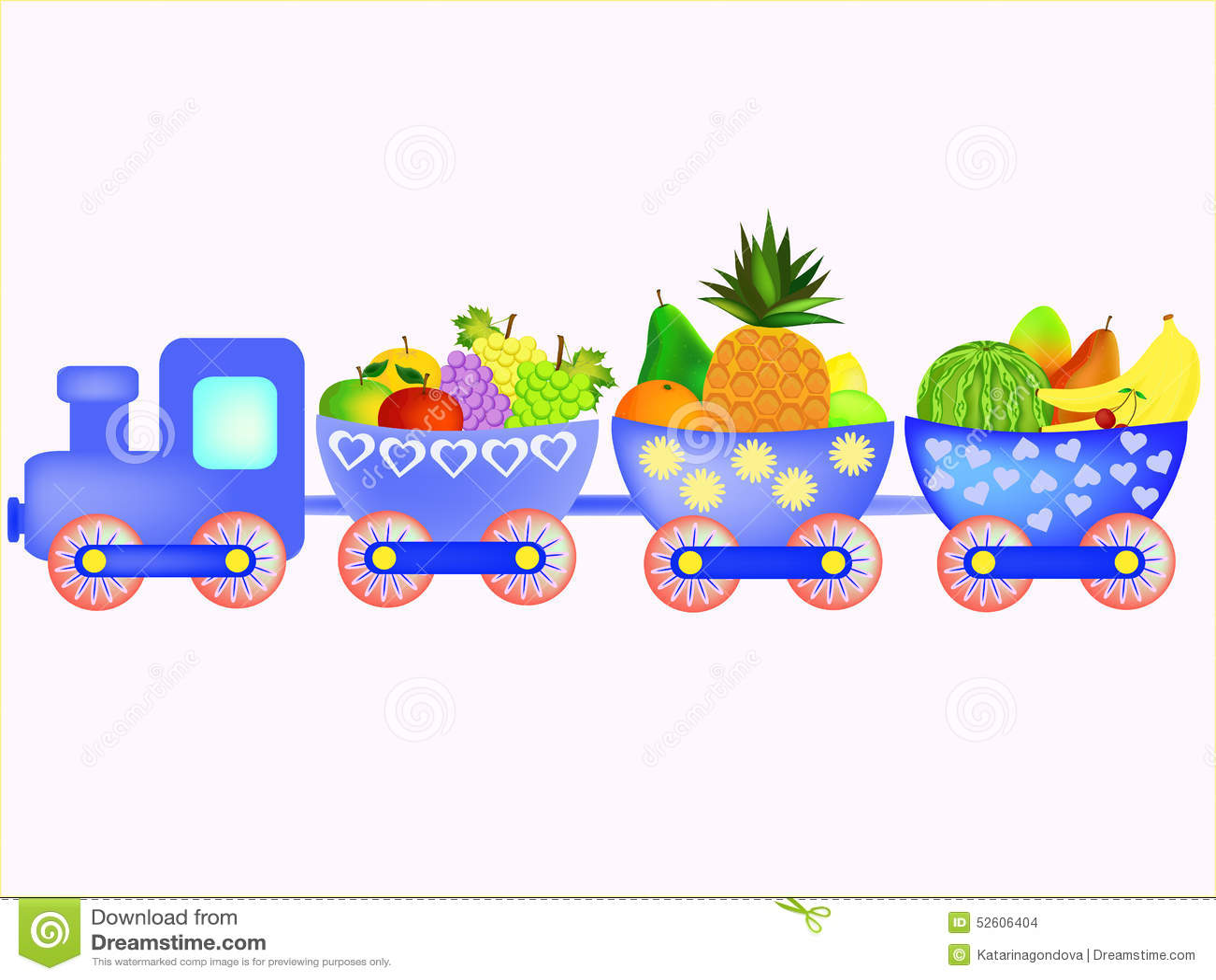 train with cartoon fruit stock illustration image 52606404