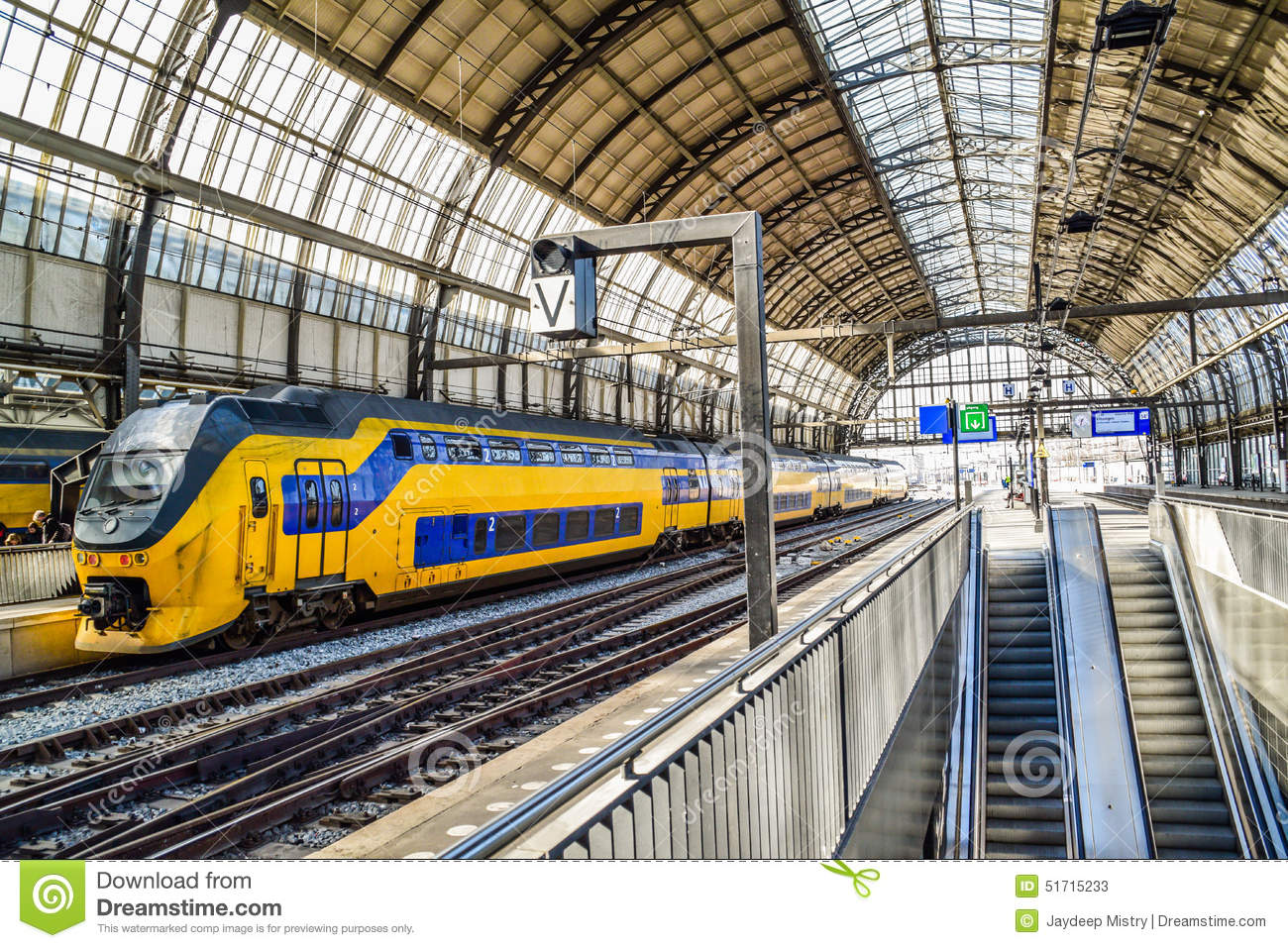 Train In Central Station In Amsterdam Netherlands Stock