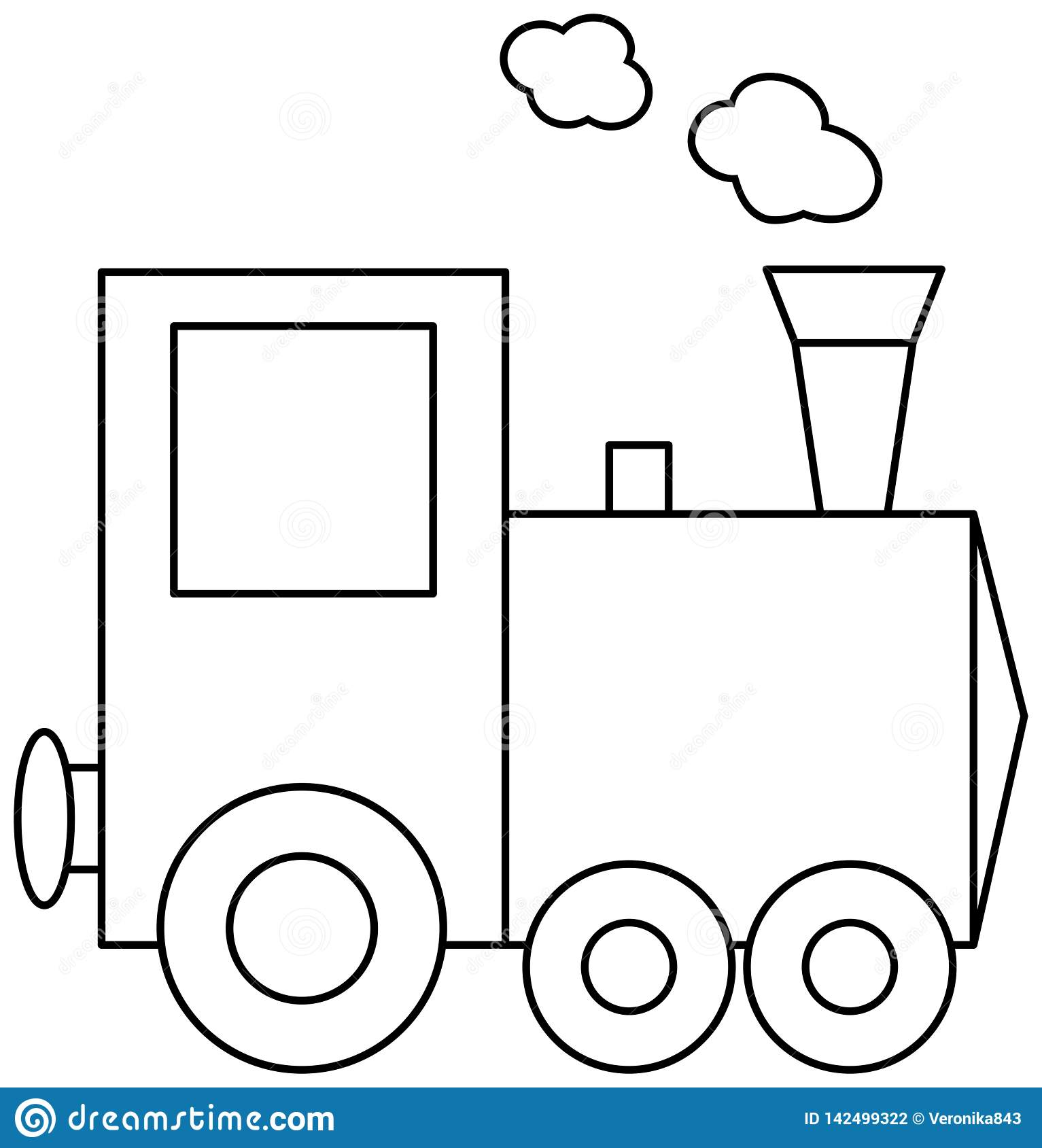 Train coloring book page stock vector. Illustration of public ...