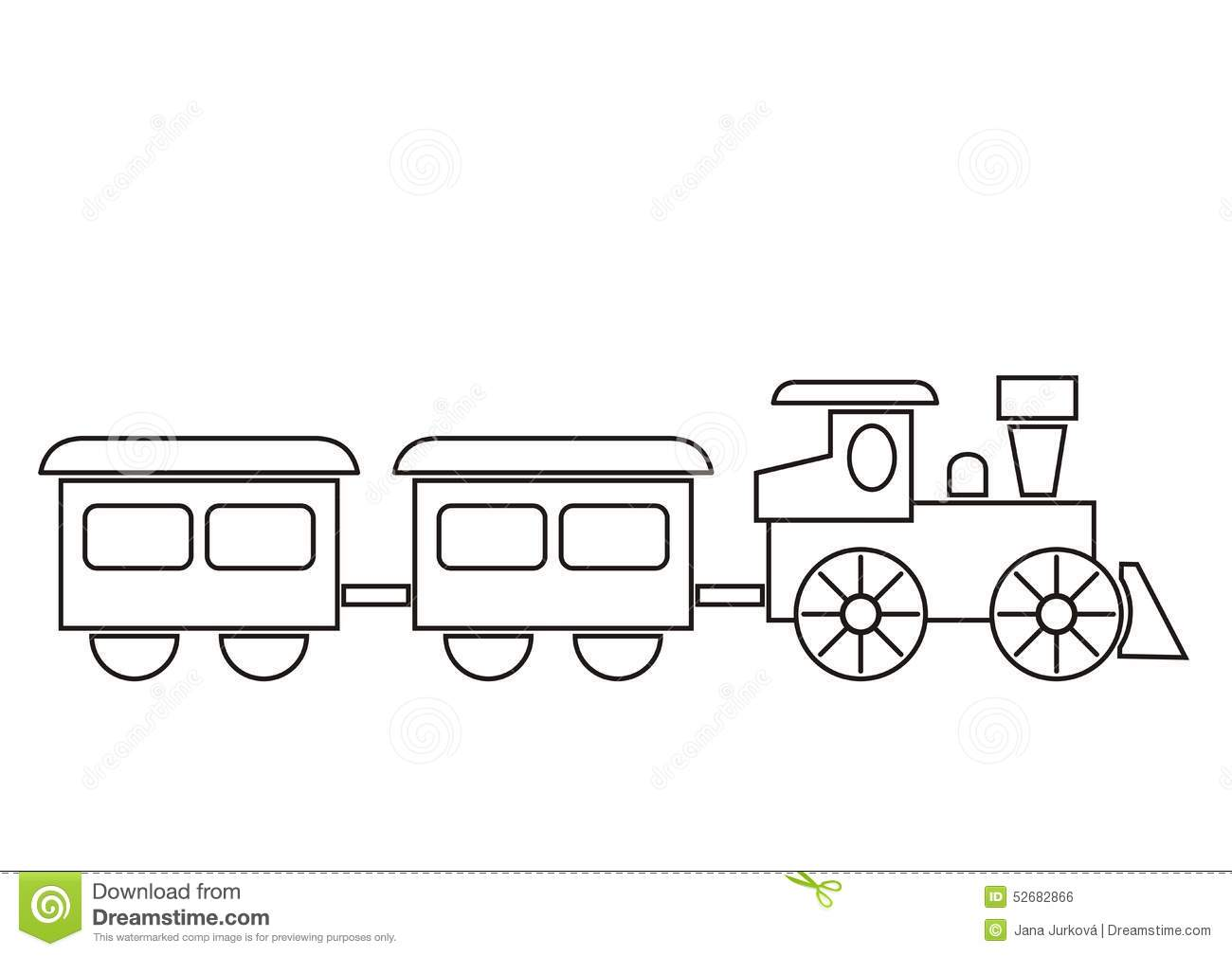Royalty Free Vector Download Train Coloring Book
