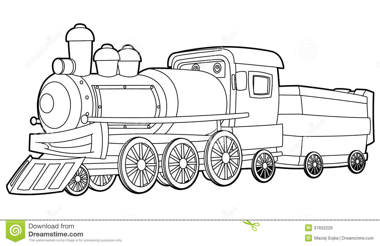 Train coloring page for the children stock illustration for Coloring page of a train