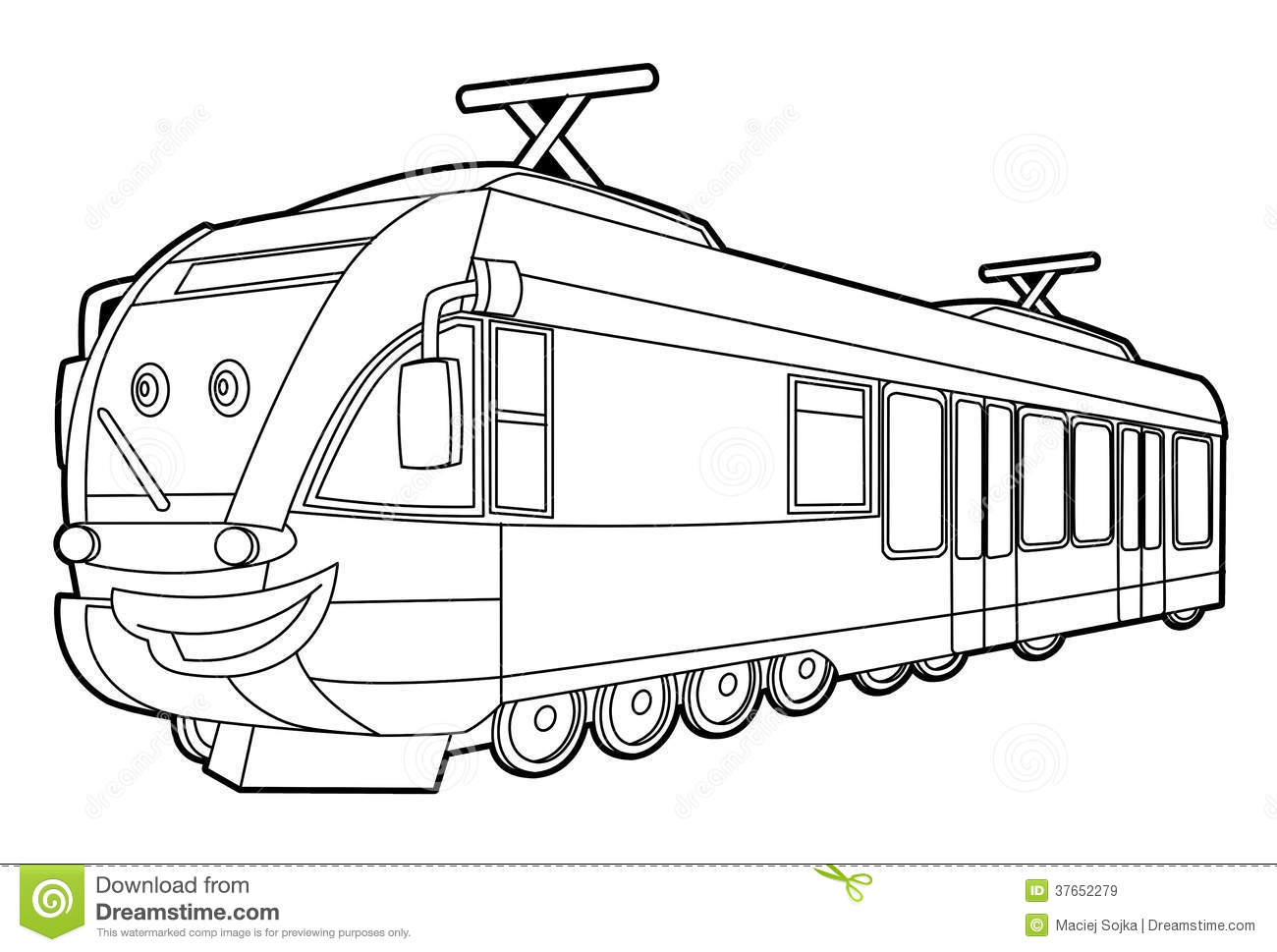 Train - Coloring Page For The Children Stock Illustration ...