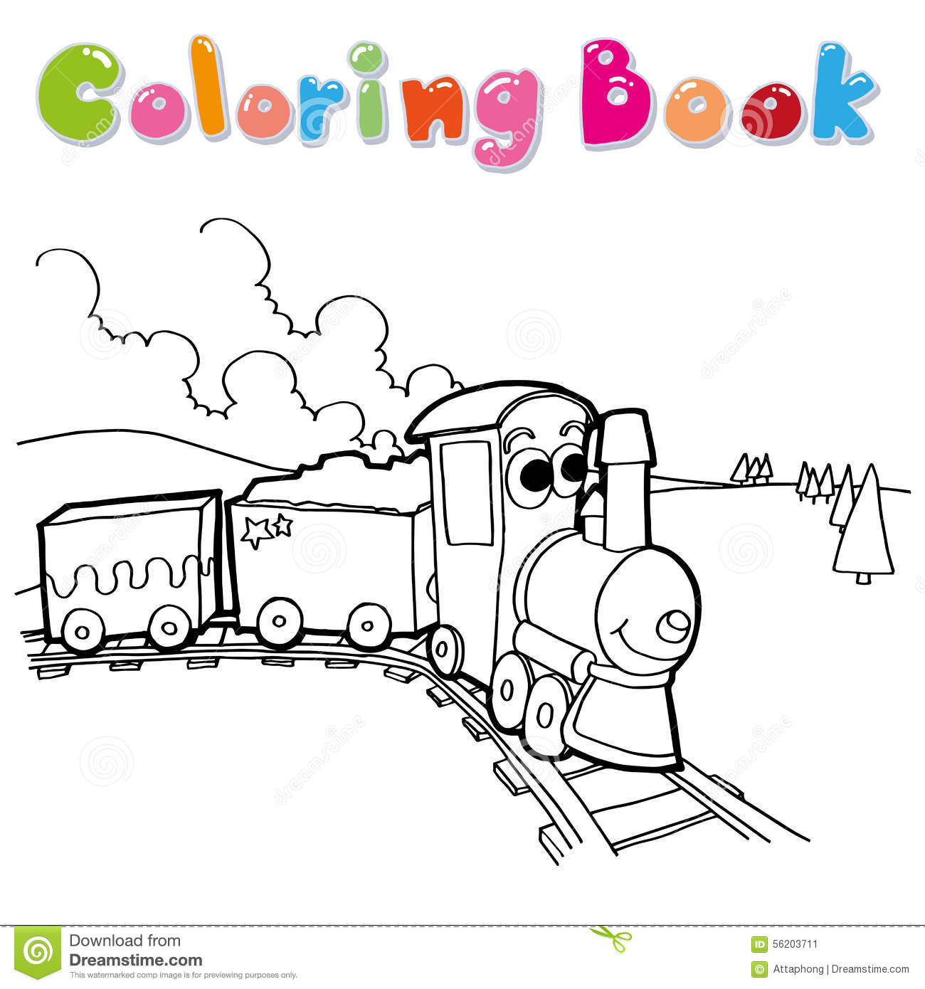 Train coloring page vector stock vector. Illustration of cute ...