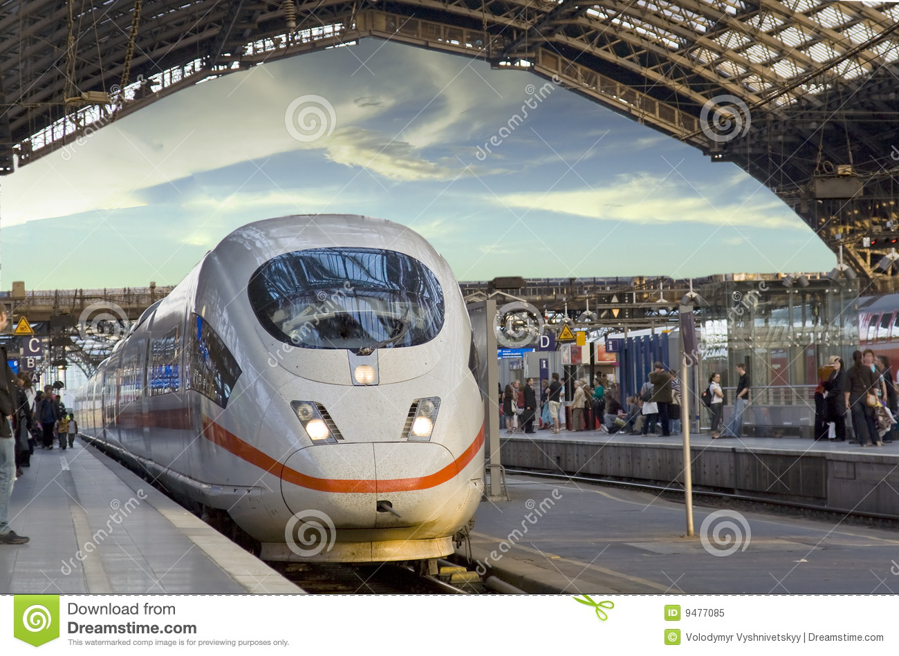 Download Train comes station stock image. Image of glasses, city - 9477085