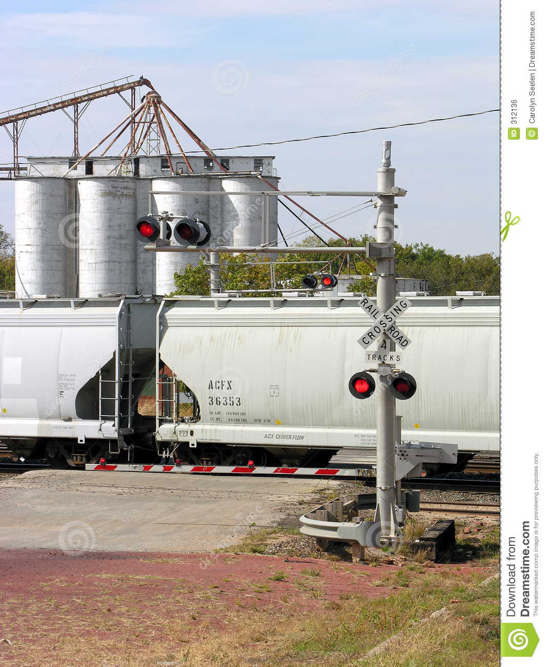 Train Crossing with Silos