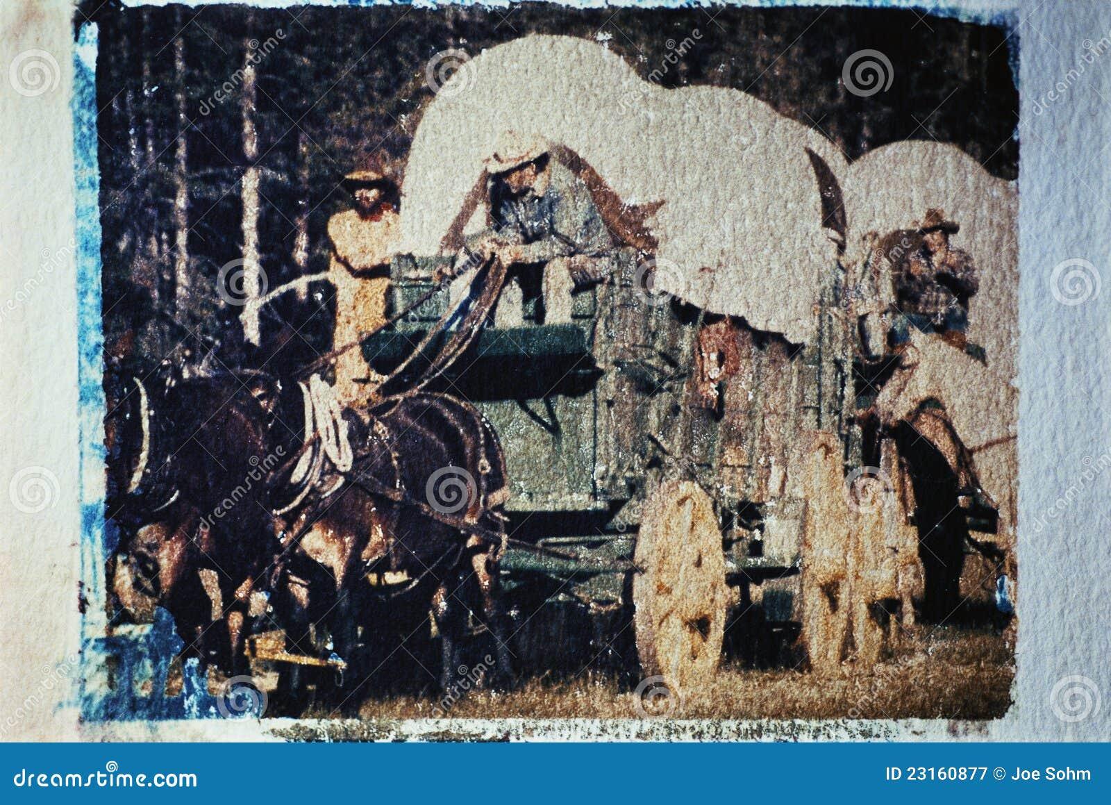 Train de chariot pris à un rétablissement historique