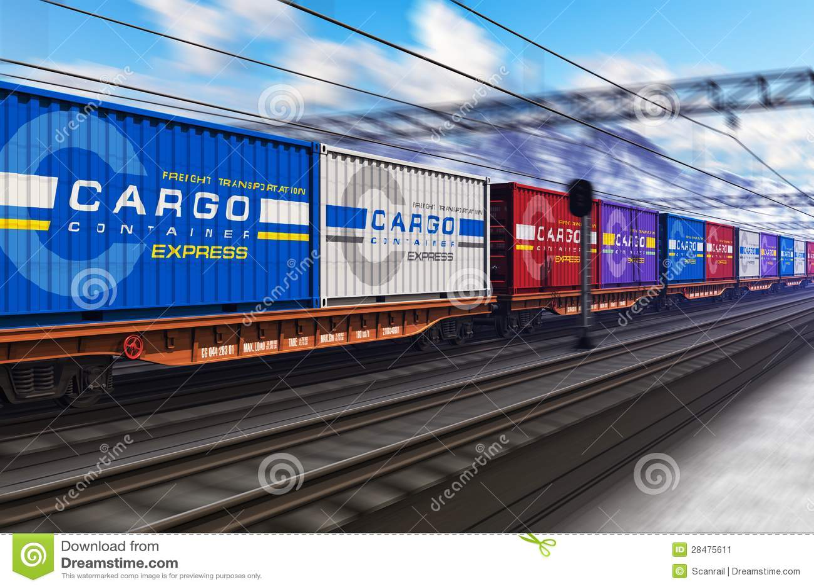 Train de fret avec des conteneurs de cargaison
