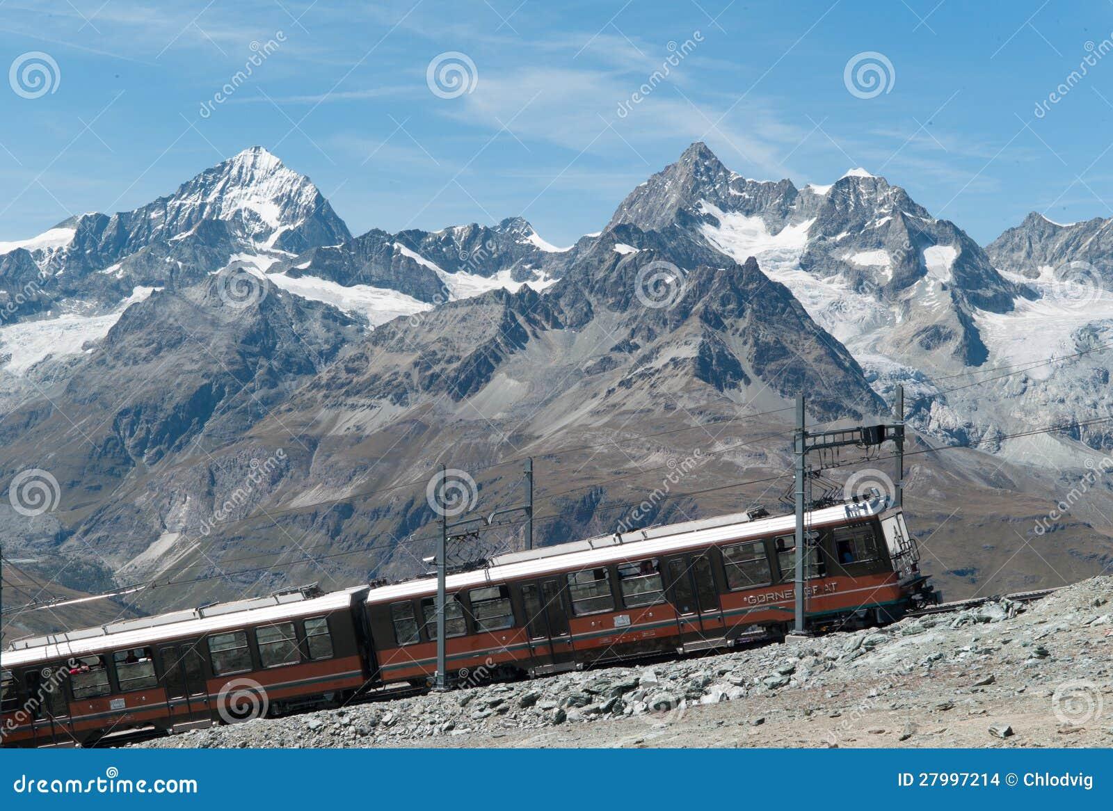 Train de Gornergrat sur la pente escarpée