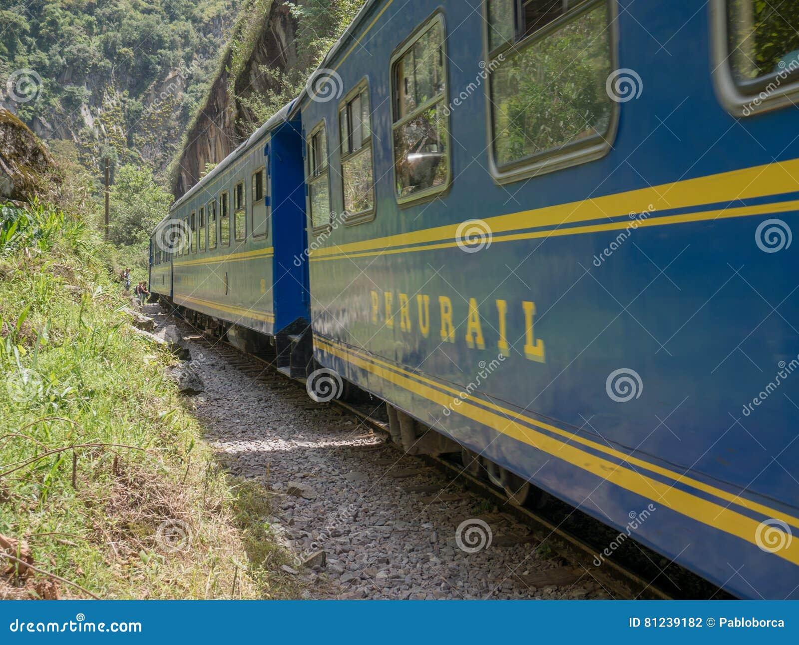Train de Perurail qui relient Cusco et Machu Picchu dans les Aguas Calientes, Cusco, Pérou