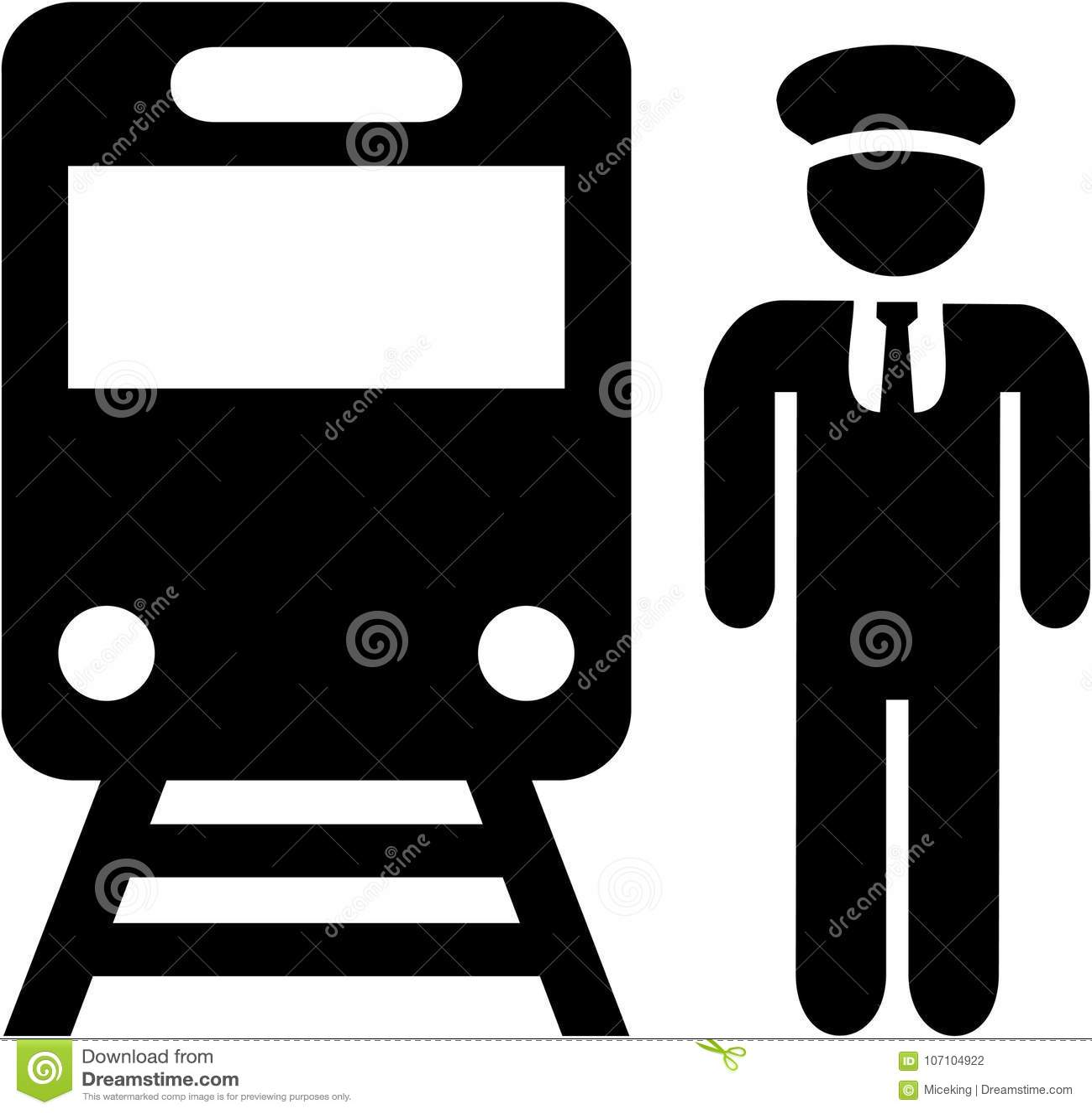 Train Driver Icon Stock Vector Illustration Of Railway