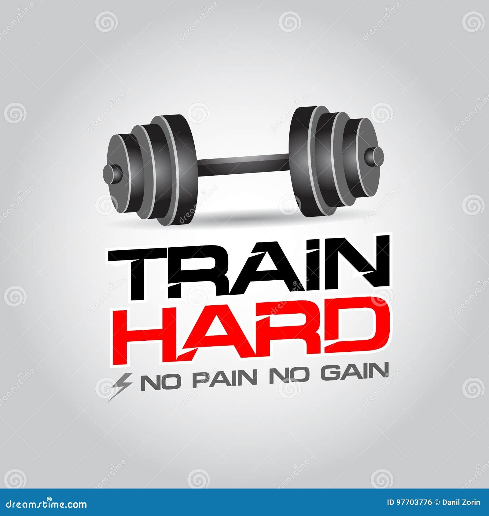 Train Hard Fitness Motivation Poster No Pain No Gain Stock