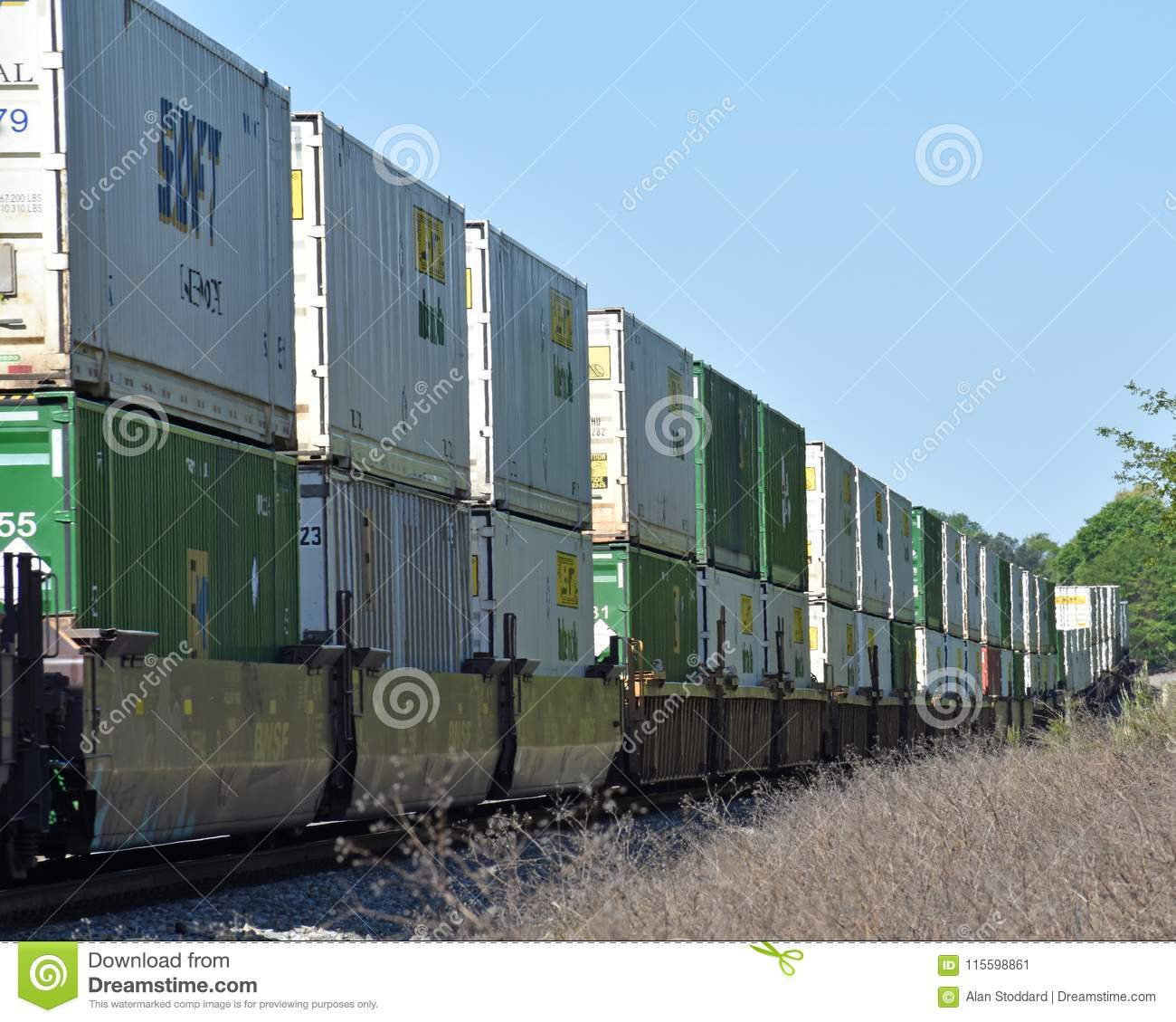 Train Hauling Intermodal Container Freight Editorial Photo