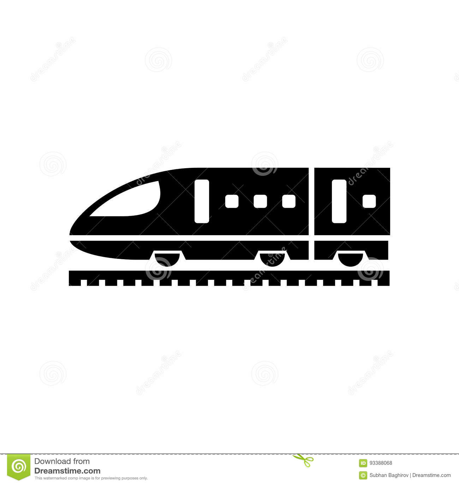 Train icon simple flat vector illustration. Speed train sign