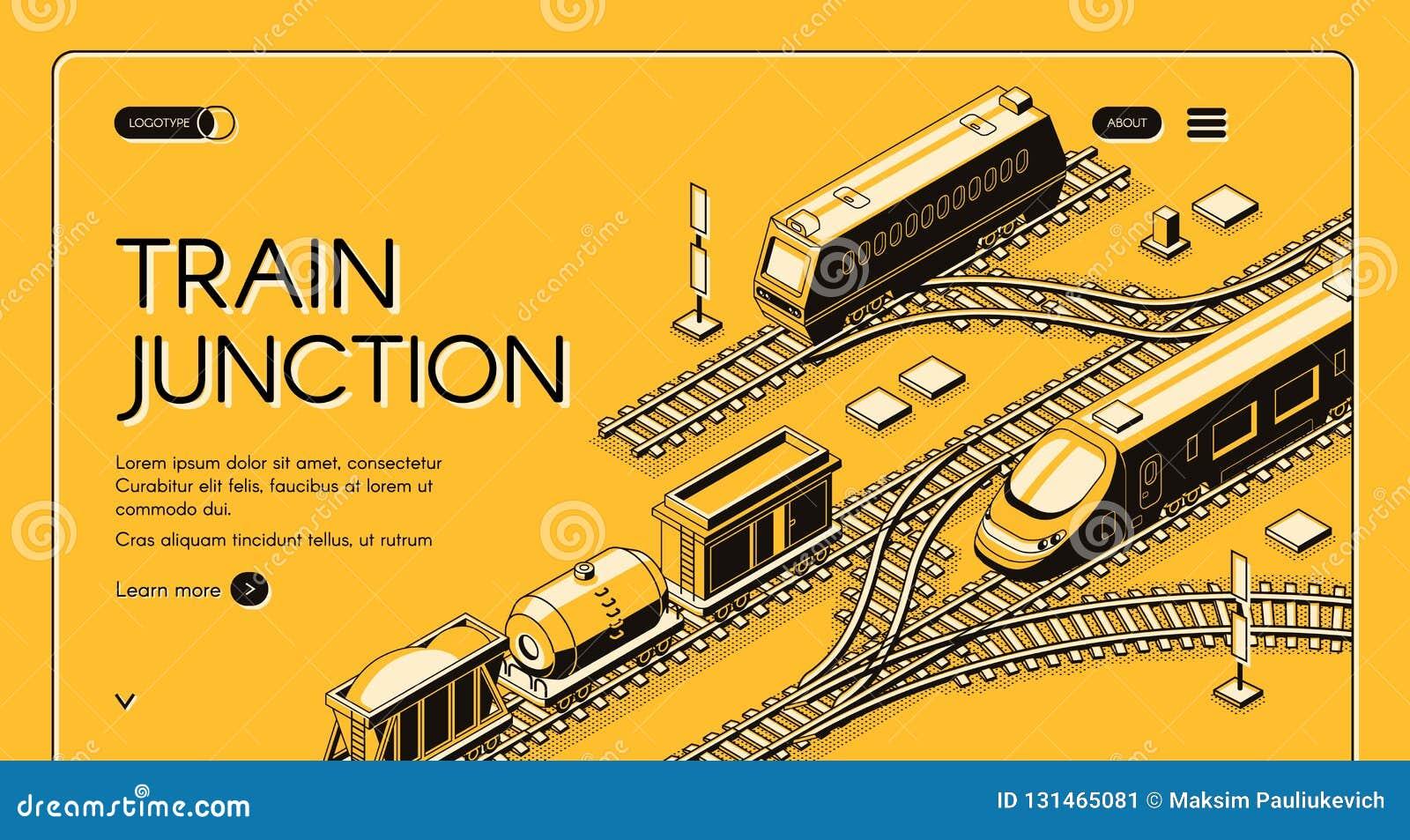 train junction website isometric vector template stock vector