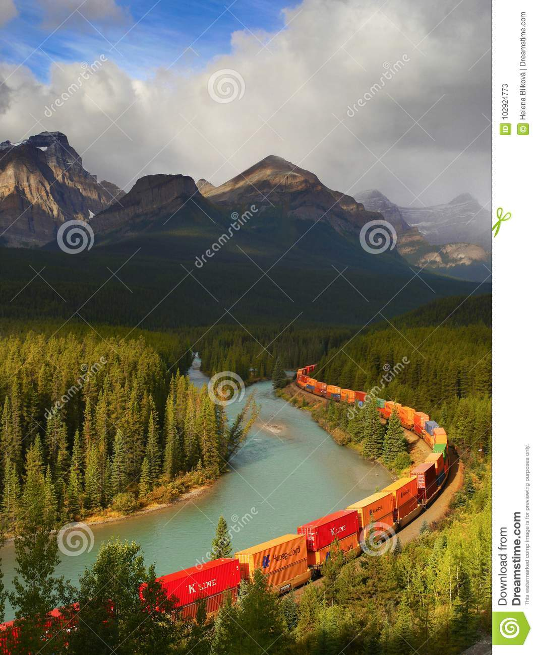 Train Moving in Mountains